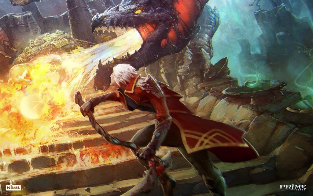 Flames video games red dragons fire weapons video battles artwork white  hair Prime World game wallpaper | | 286614 | WallpaperUP