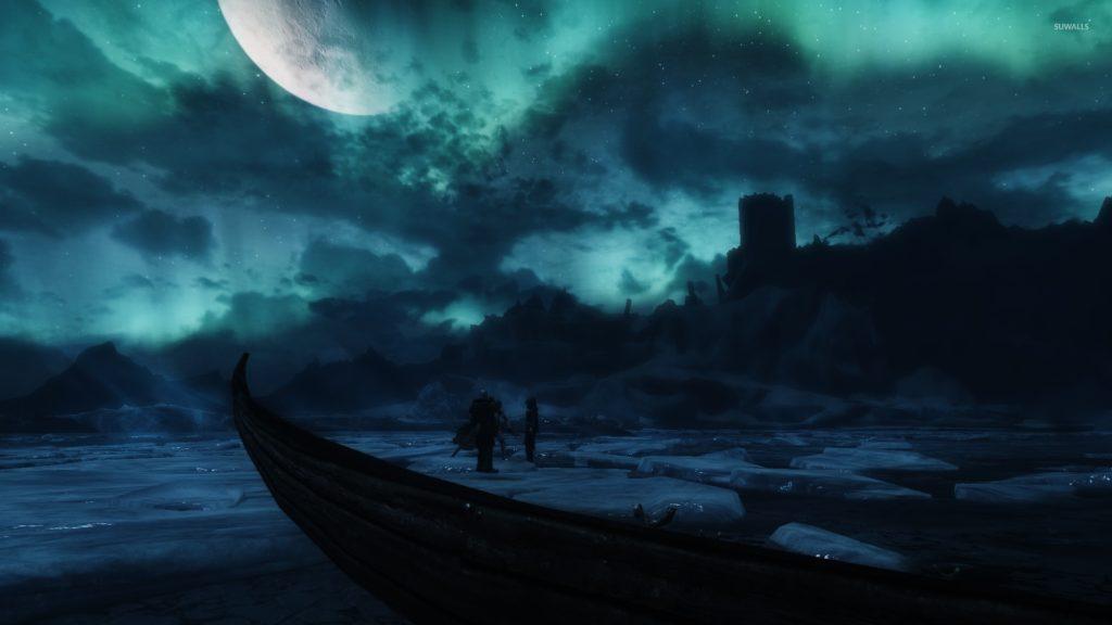 Frozen lake in The Elder Scrolls V: Skyrim wallpaper jpg