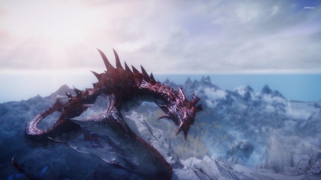 Red dragon in The Elder Scrolls V: Skyrim wallpaper