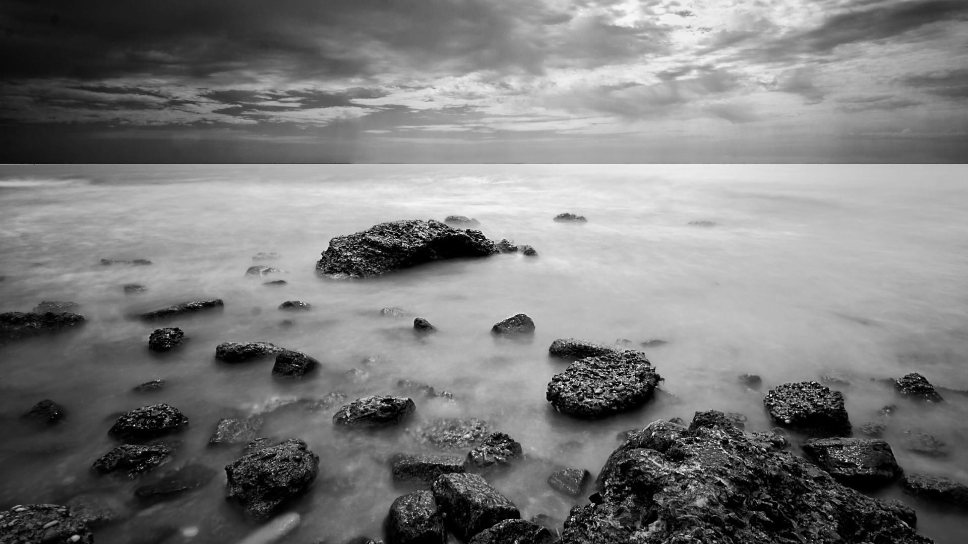 Black and white landscapes nature monochrome sea wallpaper      183687   WallpaperUP