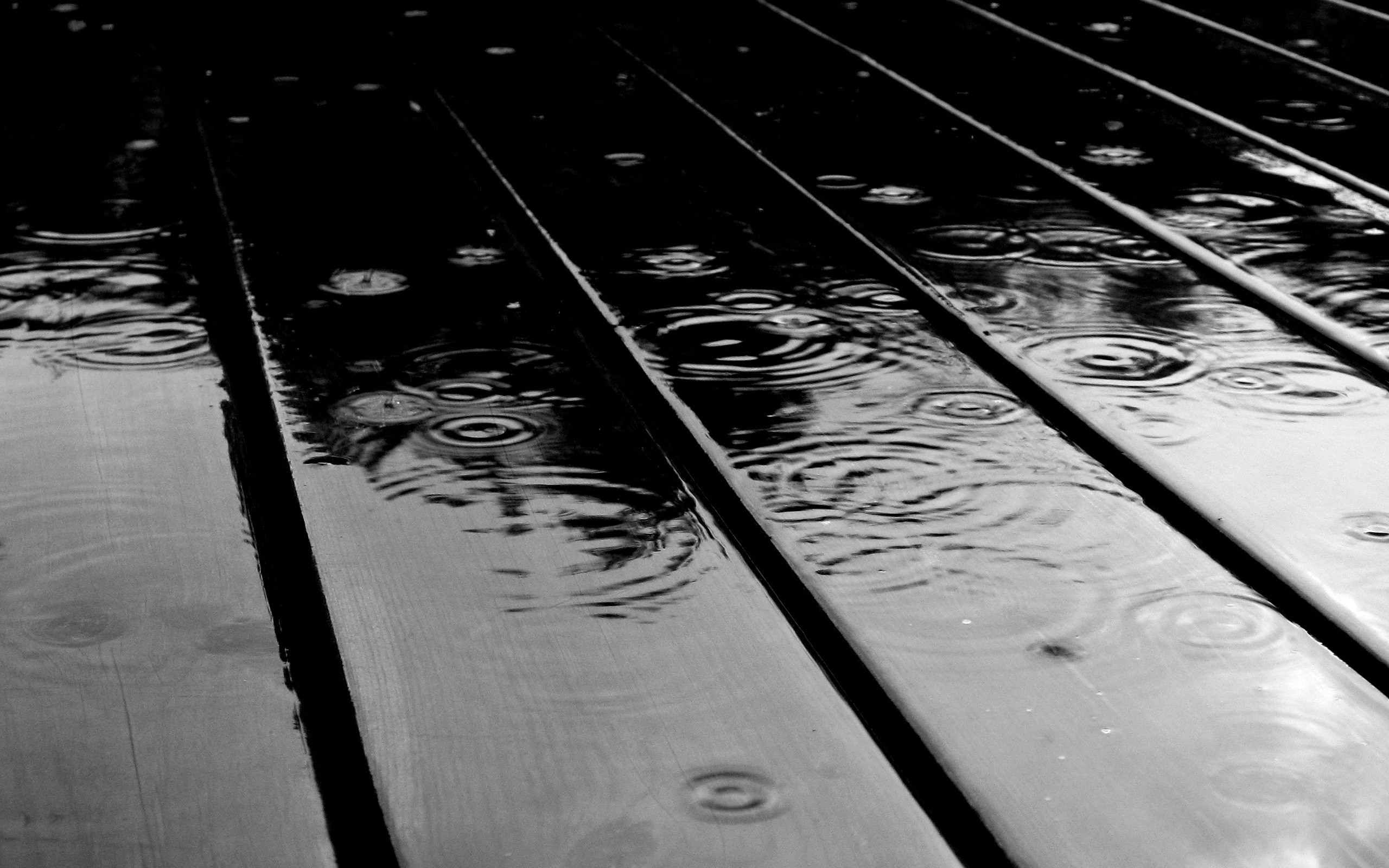 Rain Drops Black And White Wallpaper