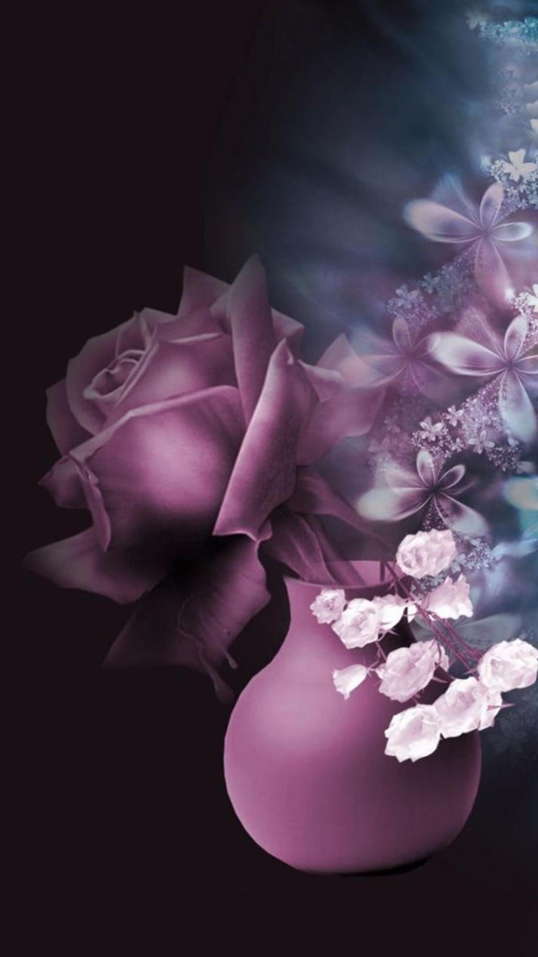 Purple Pink Rose Vase Drawn Art iPhone 8 wallpaper