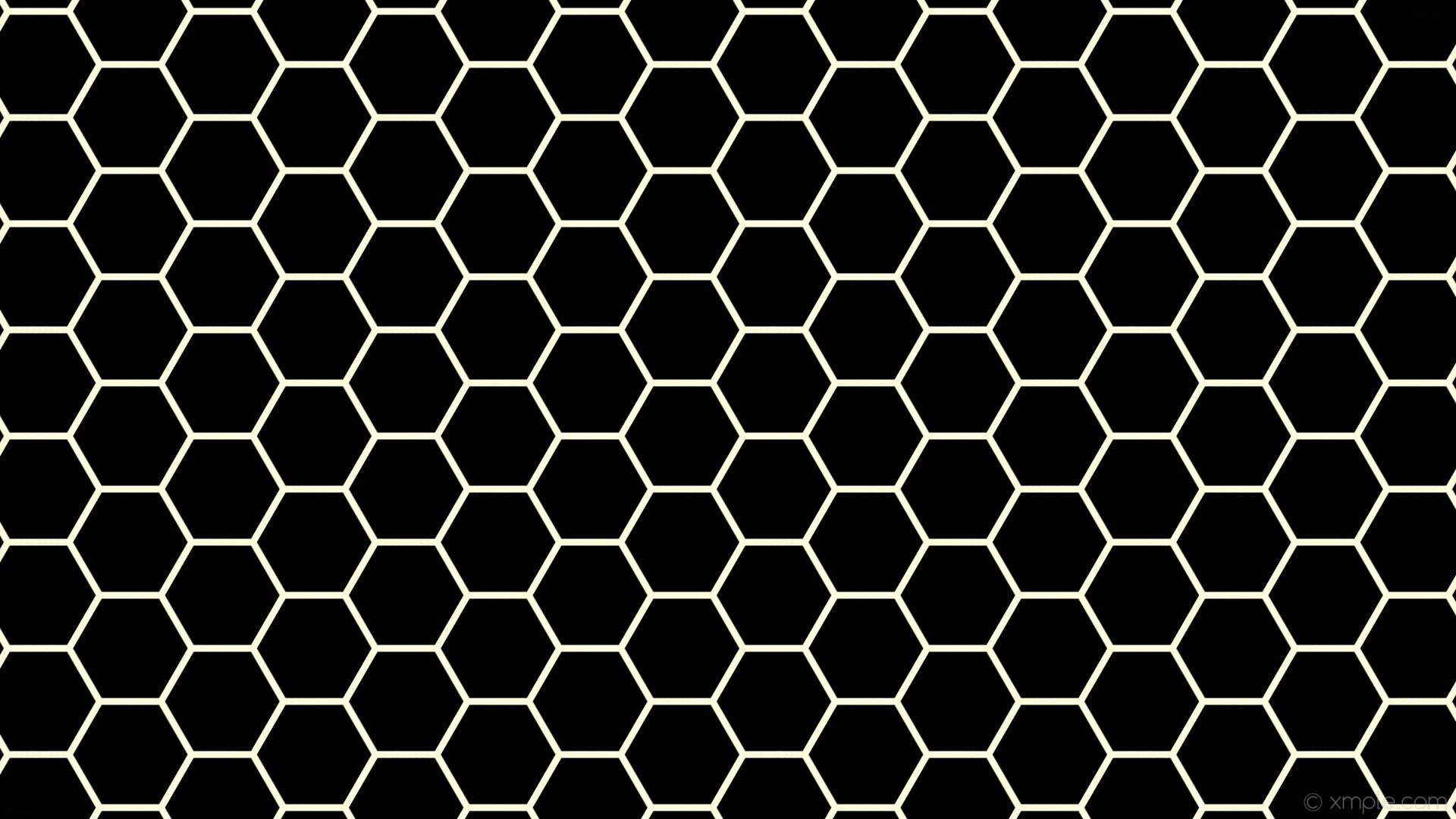 wallpaper beehive honeycomb black hexagon yellow light yellow #000000  #ffffe0 diagonal 30° 9px