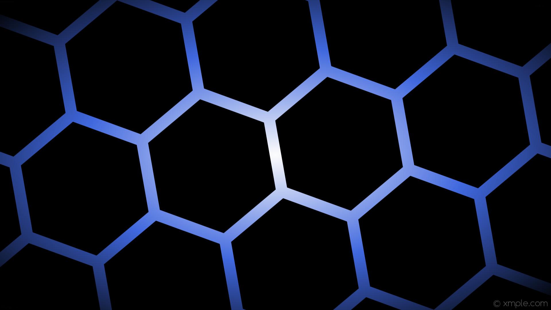 wallpaper white glow hexagon gradient blue black royal blue #000000 #ffffff  #4169e1 diagonal