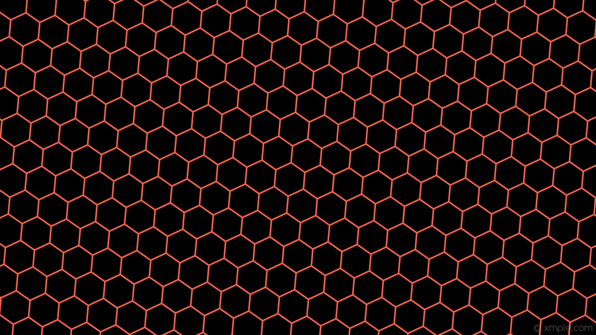 wallpaper orange honeycomb black hexagon beehive tomato #000000 #ff6347  diagonal 55° 5px 94px