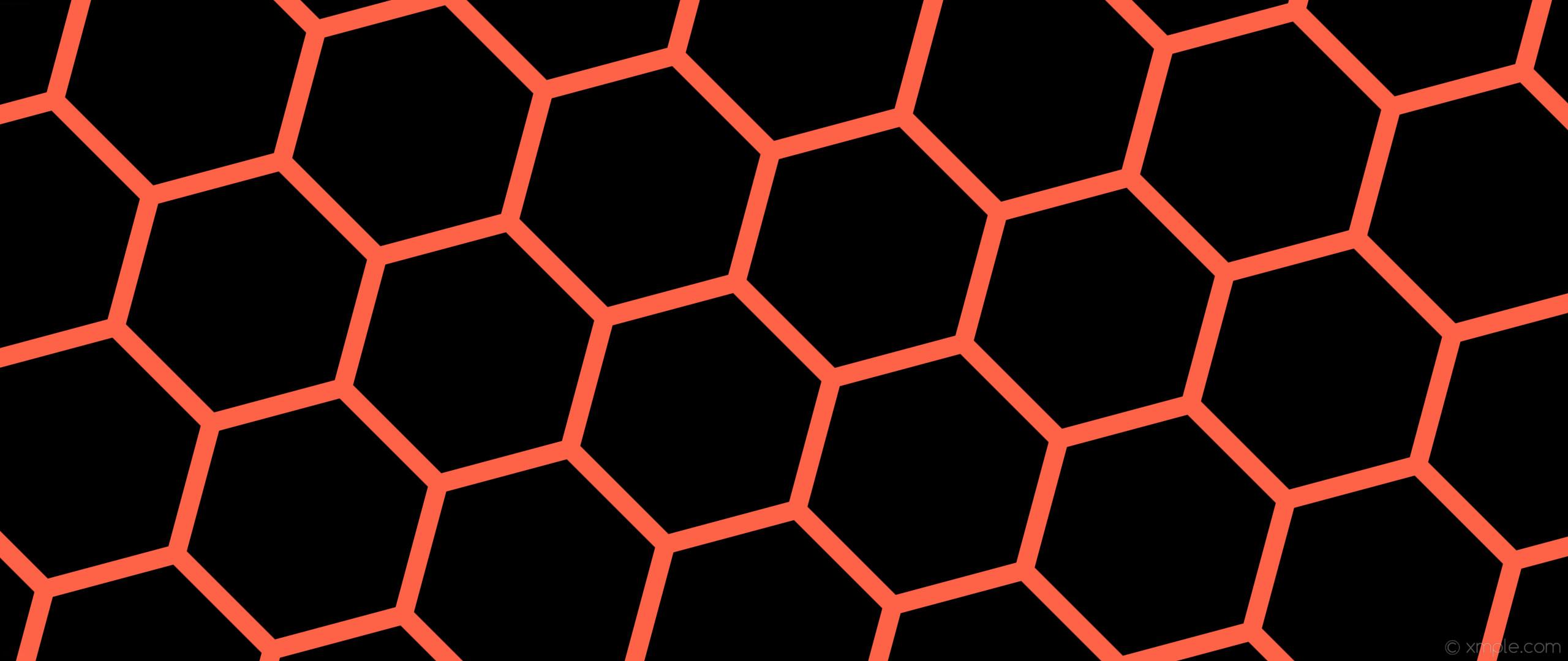 wallpaper beehive black honeycomb orange hexagon tomato #000000 #ff6347  diagonal 45° 31px 384px