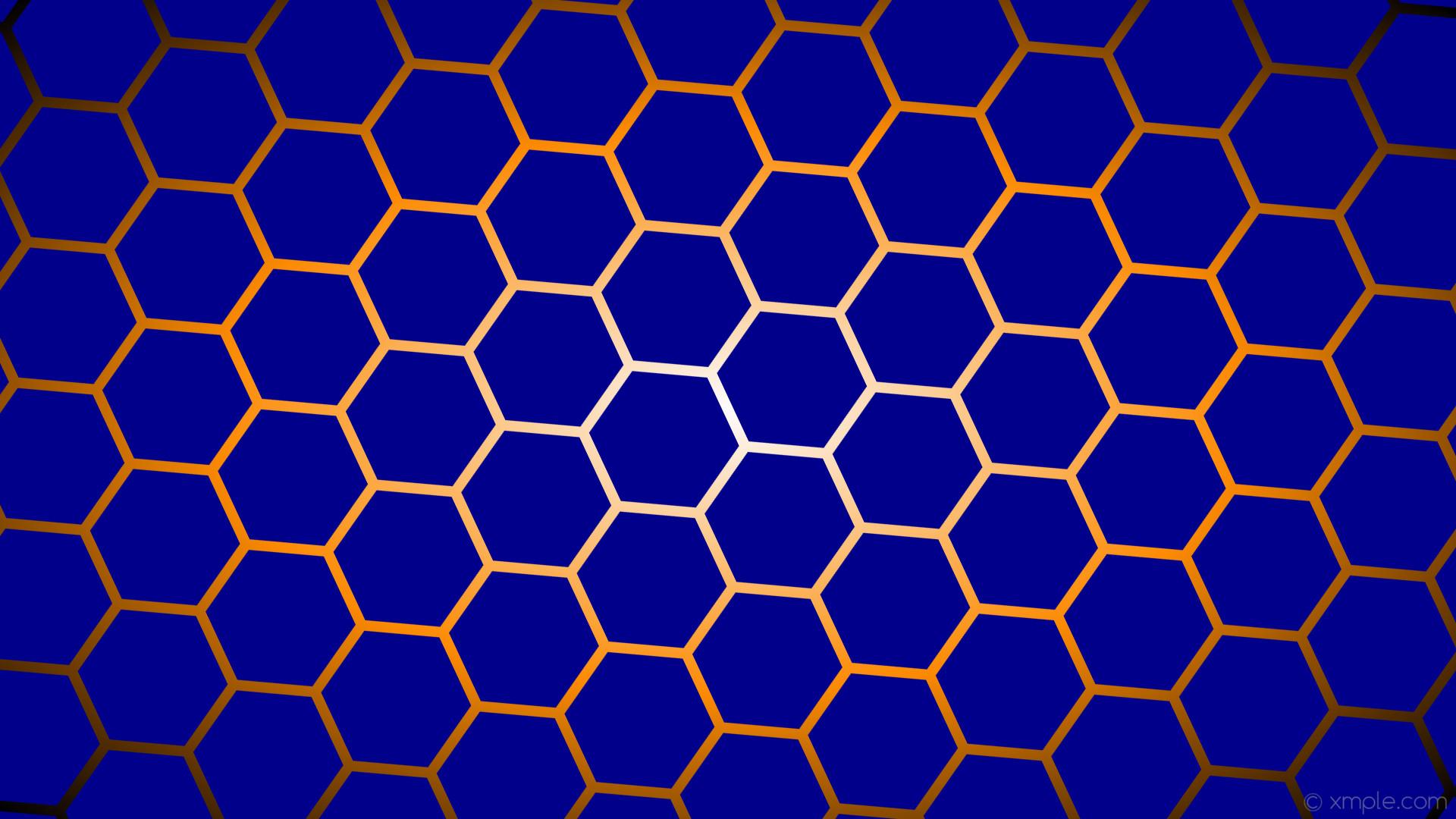 wallpaper hexagon blue orange black gradient white glow dark blue dark  orange #00008b #ffffff