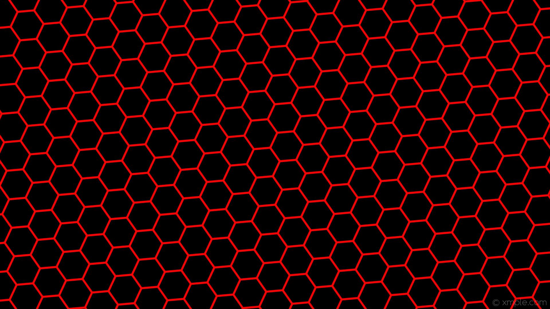 Wallpaper black red hexagon drop shadow beehive #ff0000 .