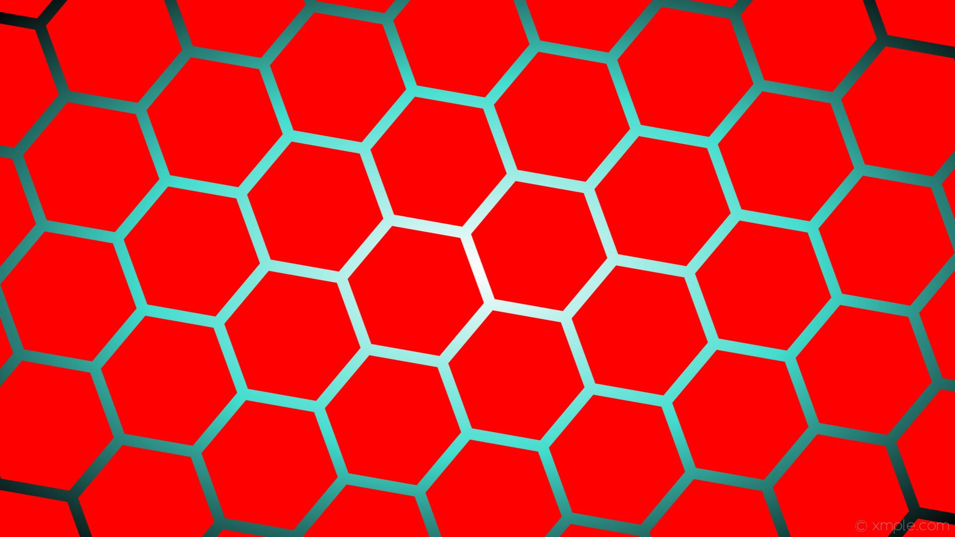 wallpaper black blue red hexagon glow white gradient turquoise #ff0000  #ffffff #40e0d0 diagonal