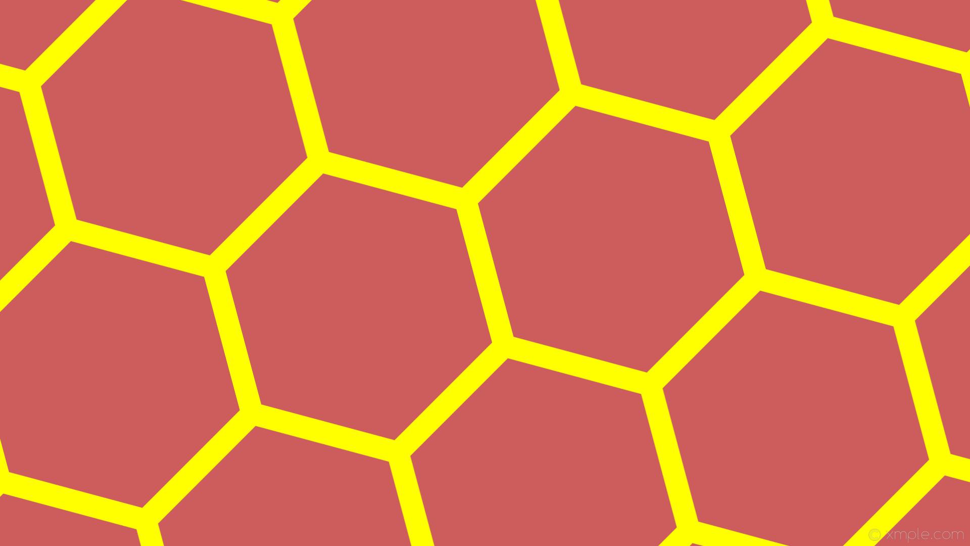 wallpaper hexagon red beehive yellow honeycomb indian red #cd5c5c #ffff00  diagonal 15° 44px