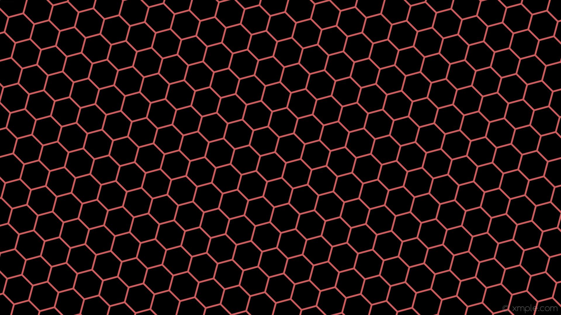 wallpaper red black honeycomb hexagon beehive indian red #000000 #cd5c5c  diagonal 45° 6px