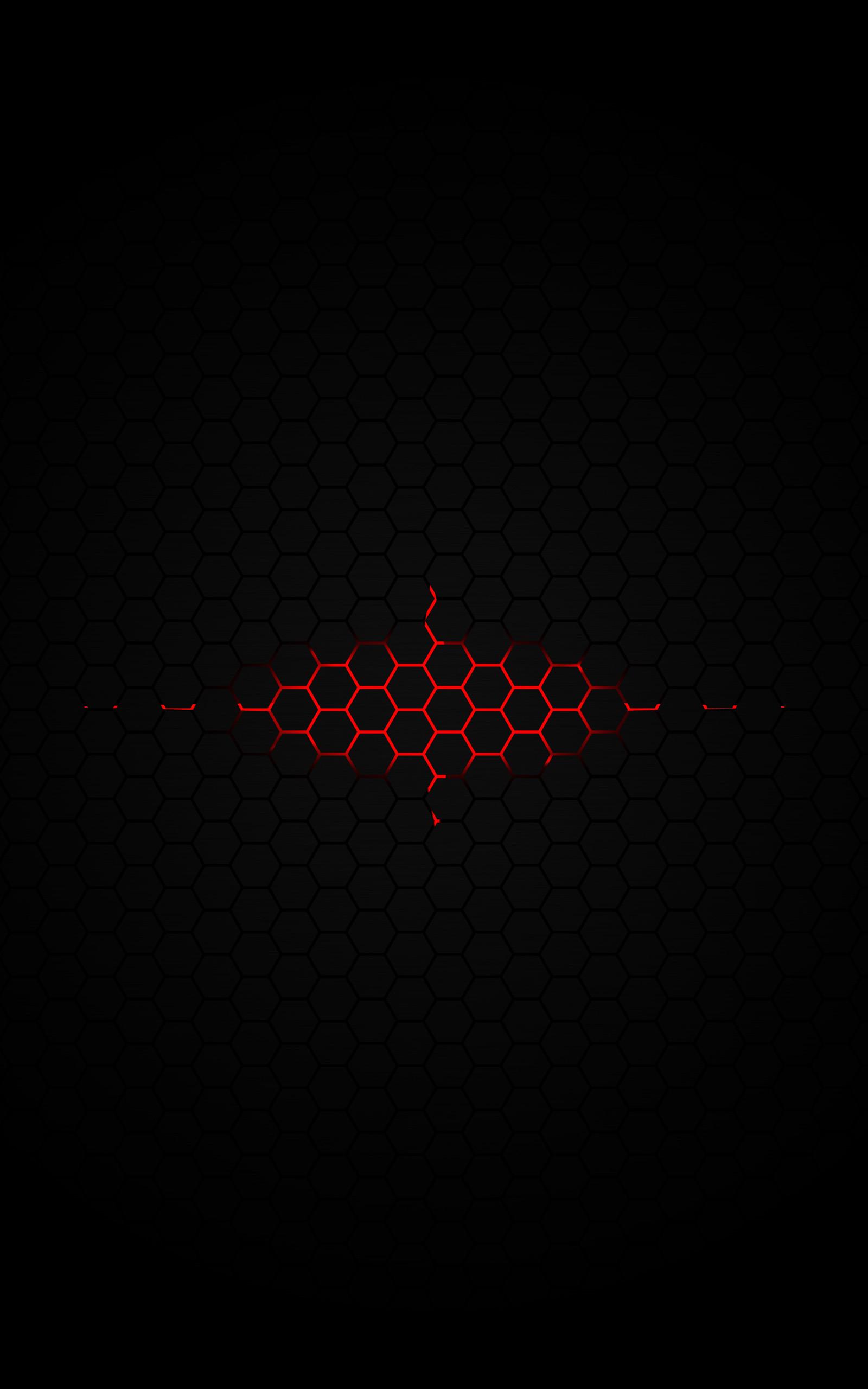 … Red glow under the hexagon pattern Digital Art mobile wallpaper