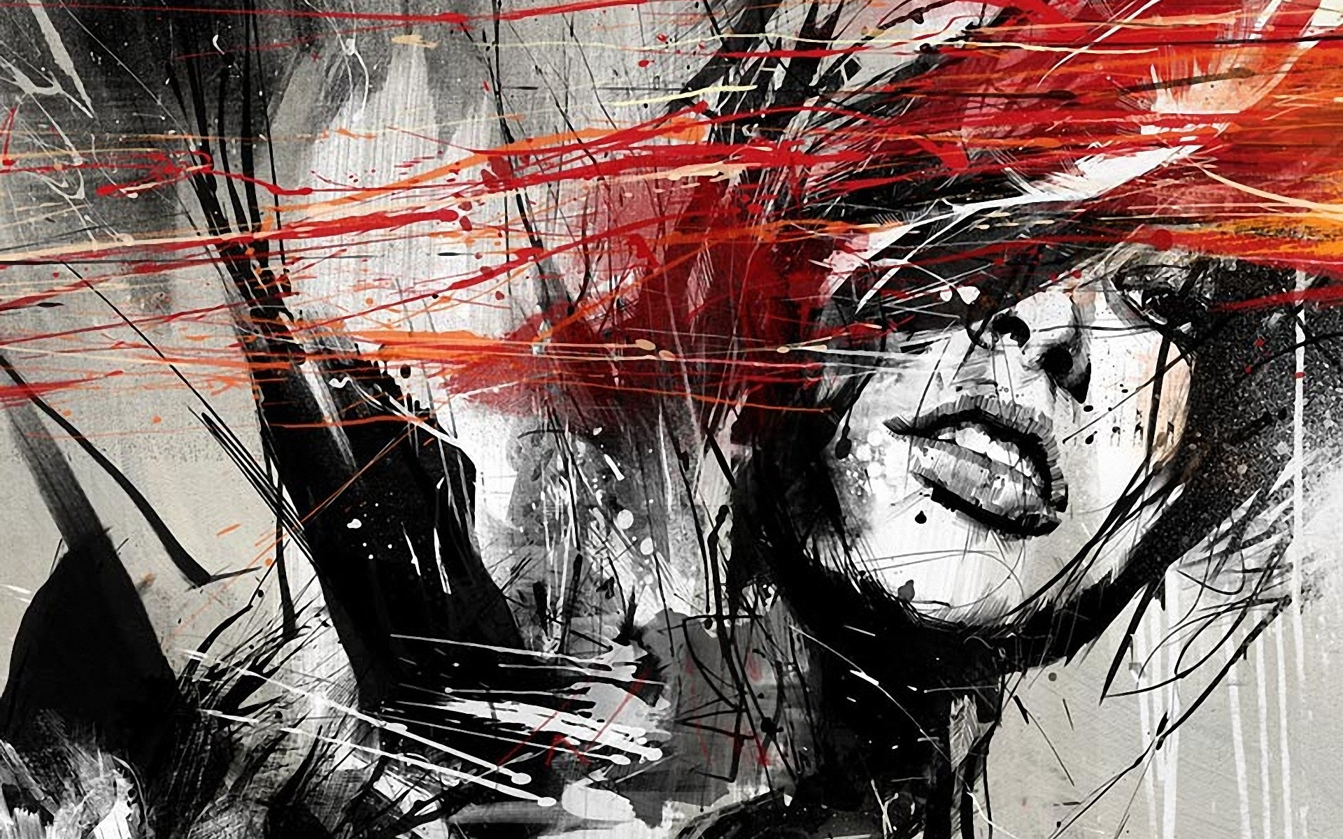 … Download Black And White And Red Painted Girl Wallpaper Full HD .