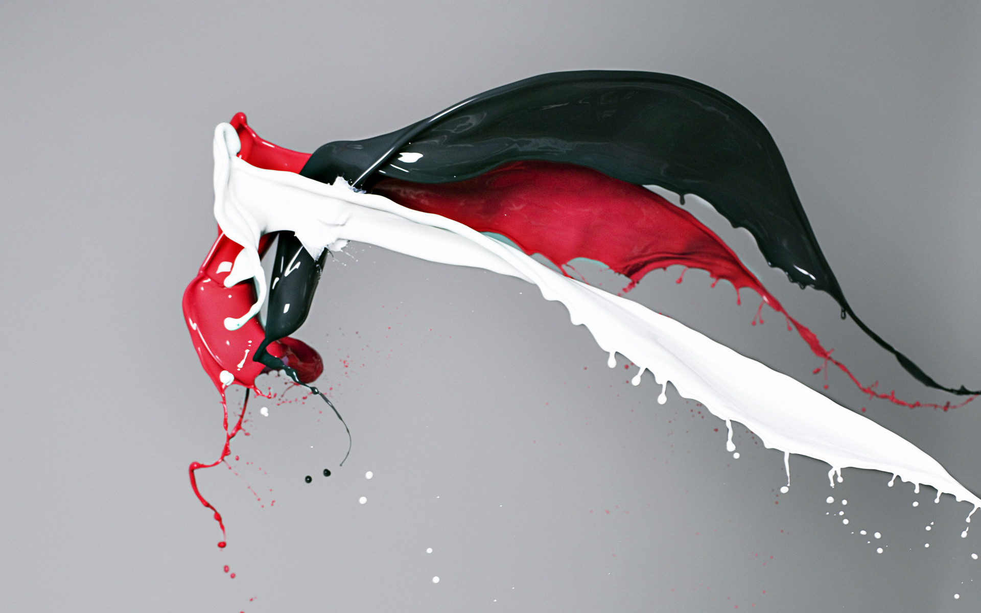 Red white and black paint colliding HD Wallpaper (1920×1200)