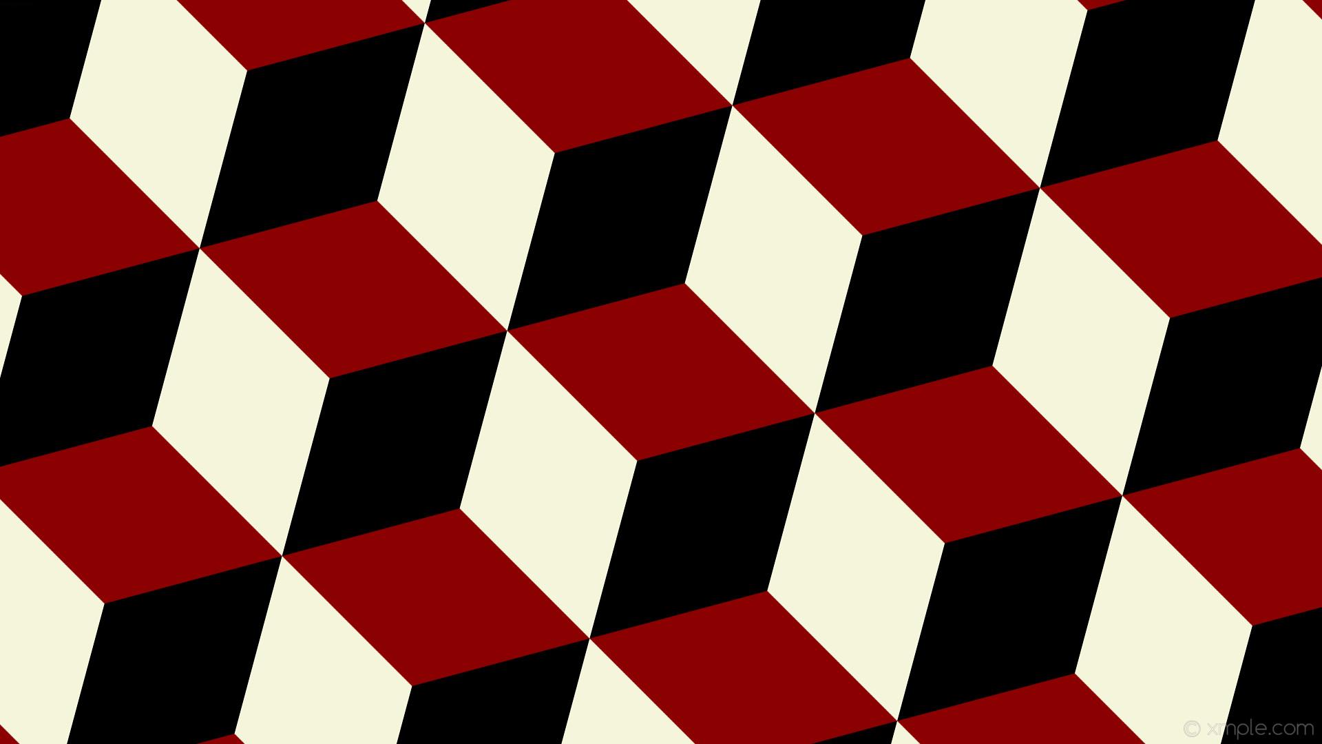 wallpaper red white 3d cubes black dark red beige #8b0000 #f5f5dc #000000  345