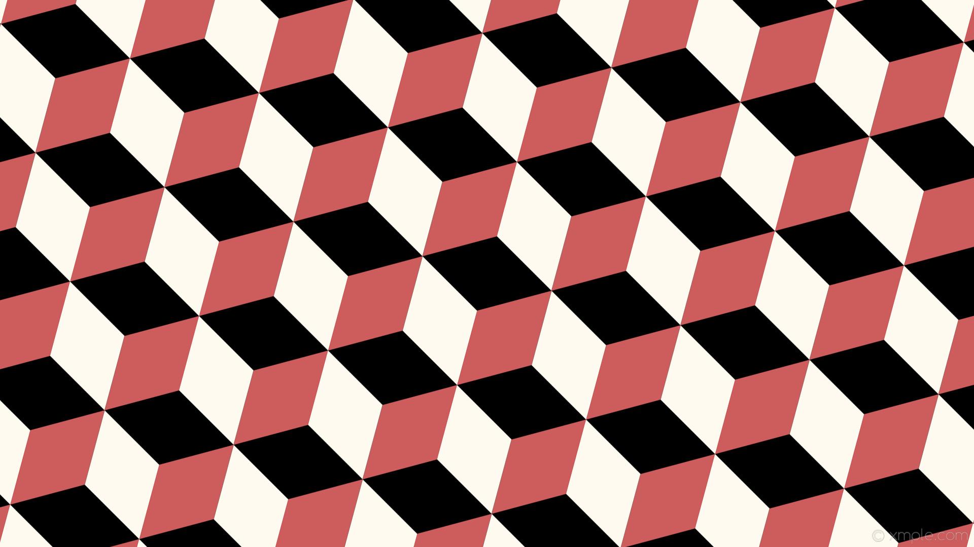 wallpaper red 3d cubes white black floral white indian red #000000 #fffaf0  #cd5c5c
