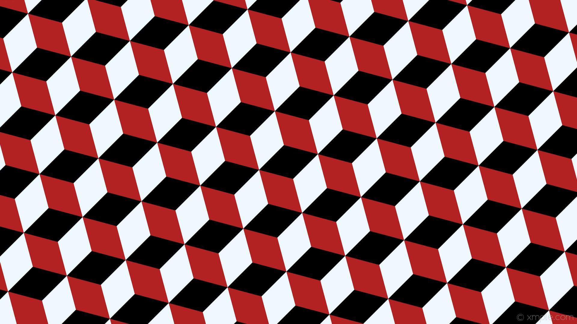 wallpaper red 3d cubes white black fire brick alice blue #000000 #b22222  #f0f8ff