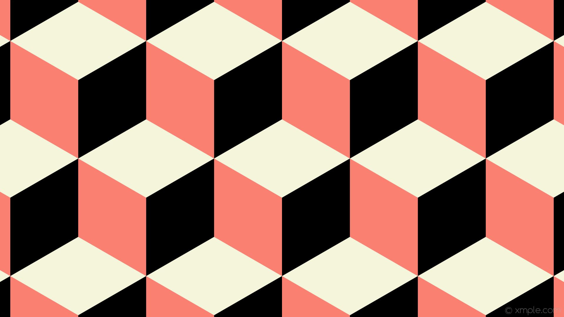 wallpaper white black 3d cubes red beige salmon #f5f5dc #fa8072 #000000 180°