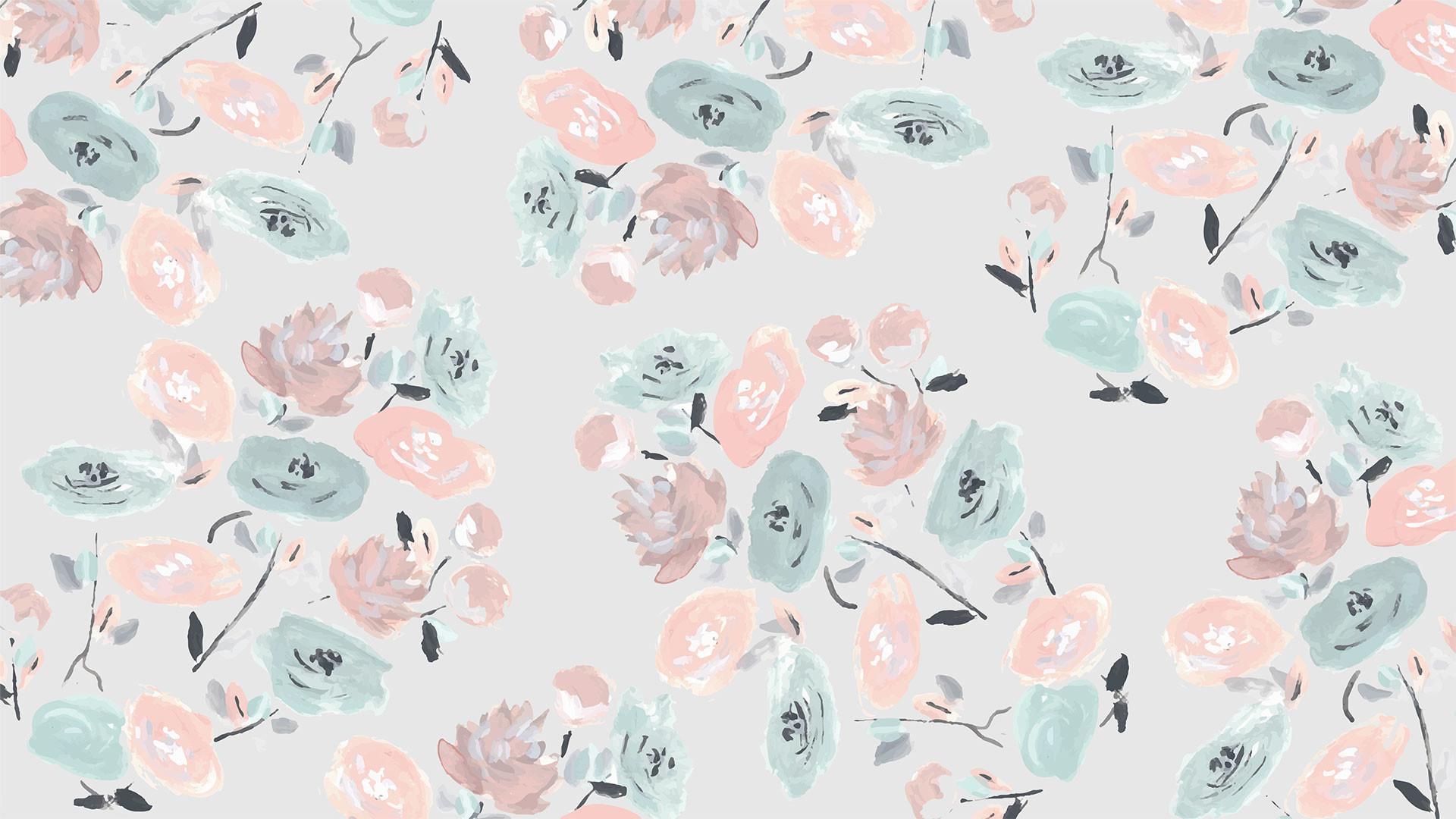 Dark floral desktop wallpaper