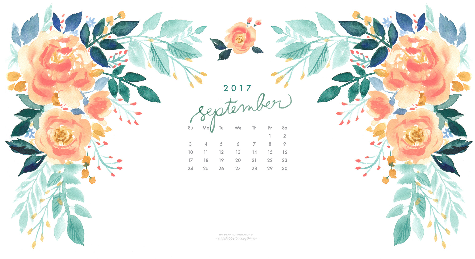 Pretty peach blooms watercolor September 2017 calendar wallpaper for your  computer. 100% original art