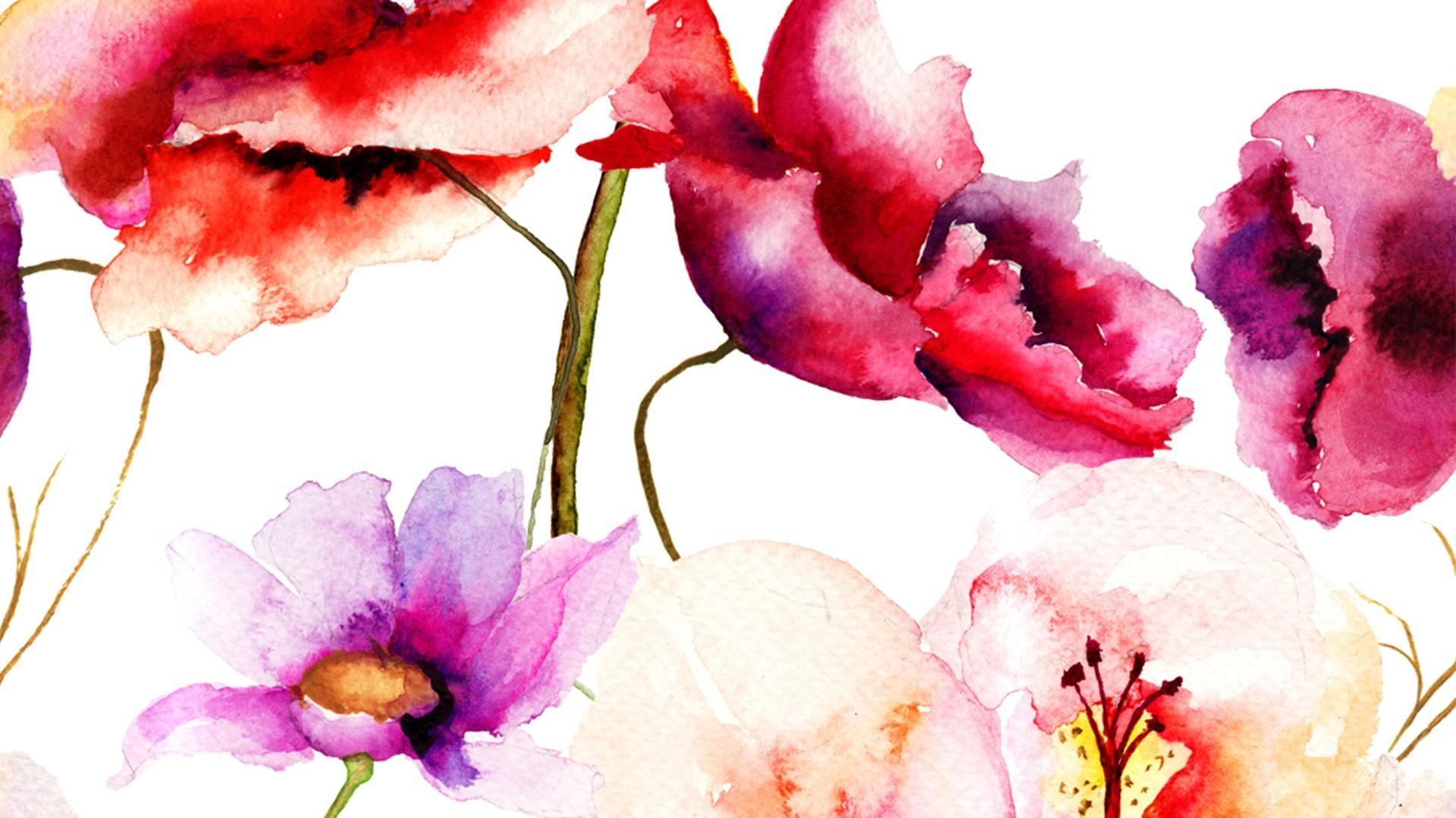 Beautiful art flower watercolor wallpaper.