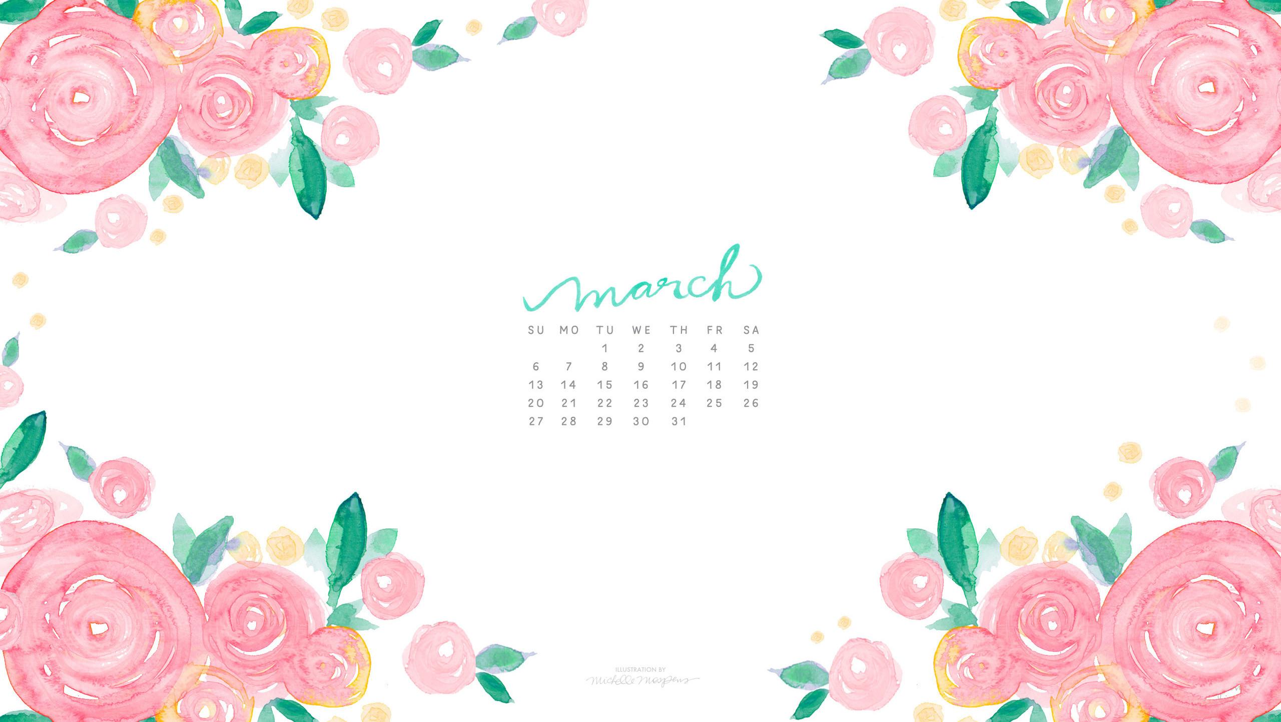 March Watercolor Floral Calendar Download for your computer desktop by  Michelle Mospens. /