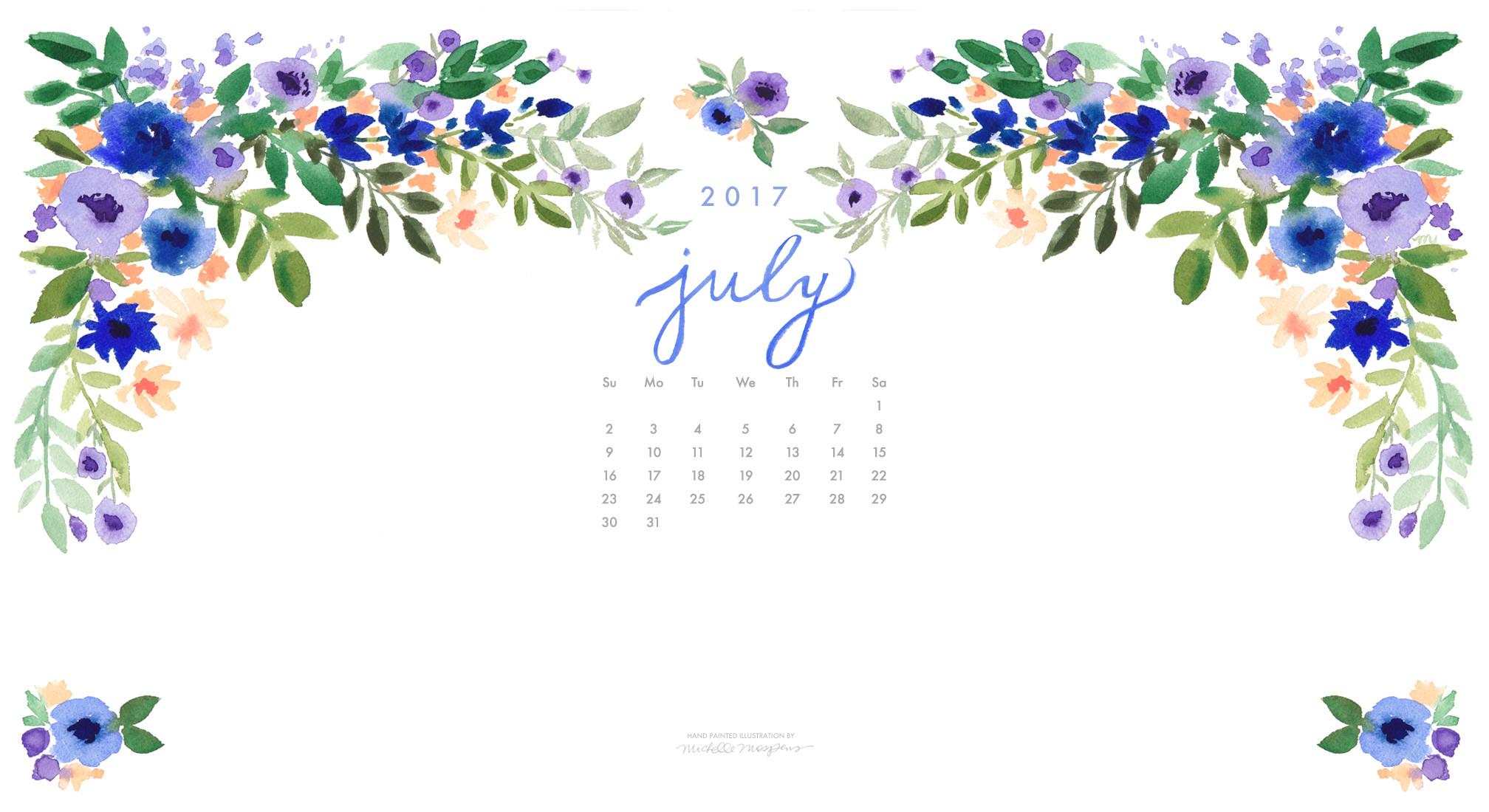 Pretty posy watercolor July 2017 calendar wallpaper for your computer. 100%  original art by