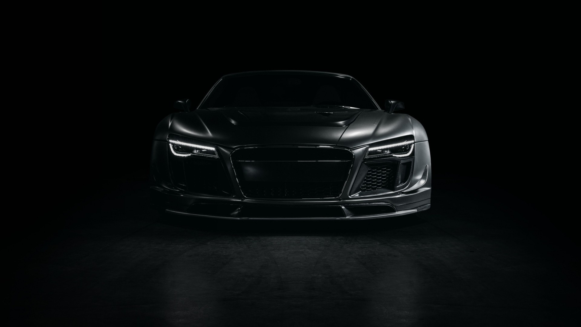 Preview wallpaper audi, r8, sports car, tuning, front view, black 1920×1080