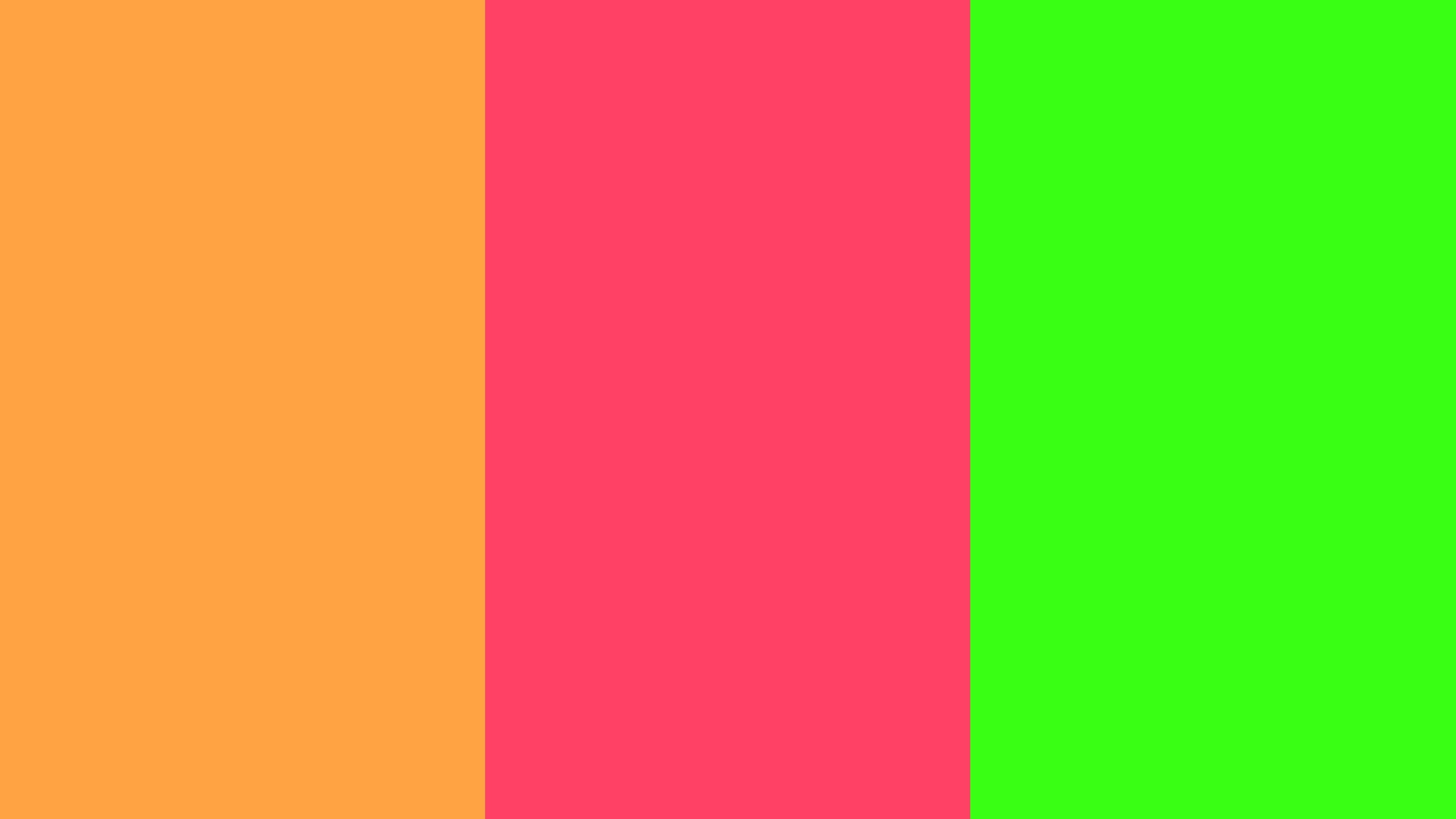 Neon Carrot, Neon Fuchsia and Neon Green solid three color background .