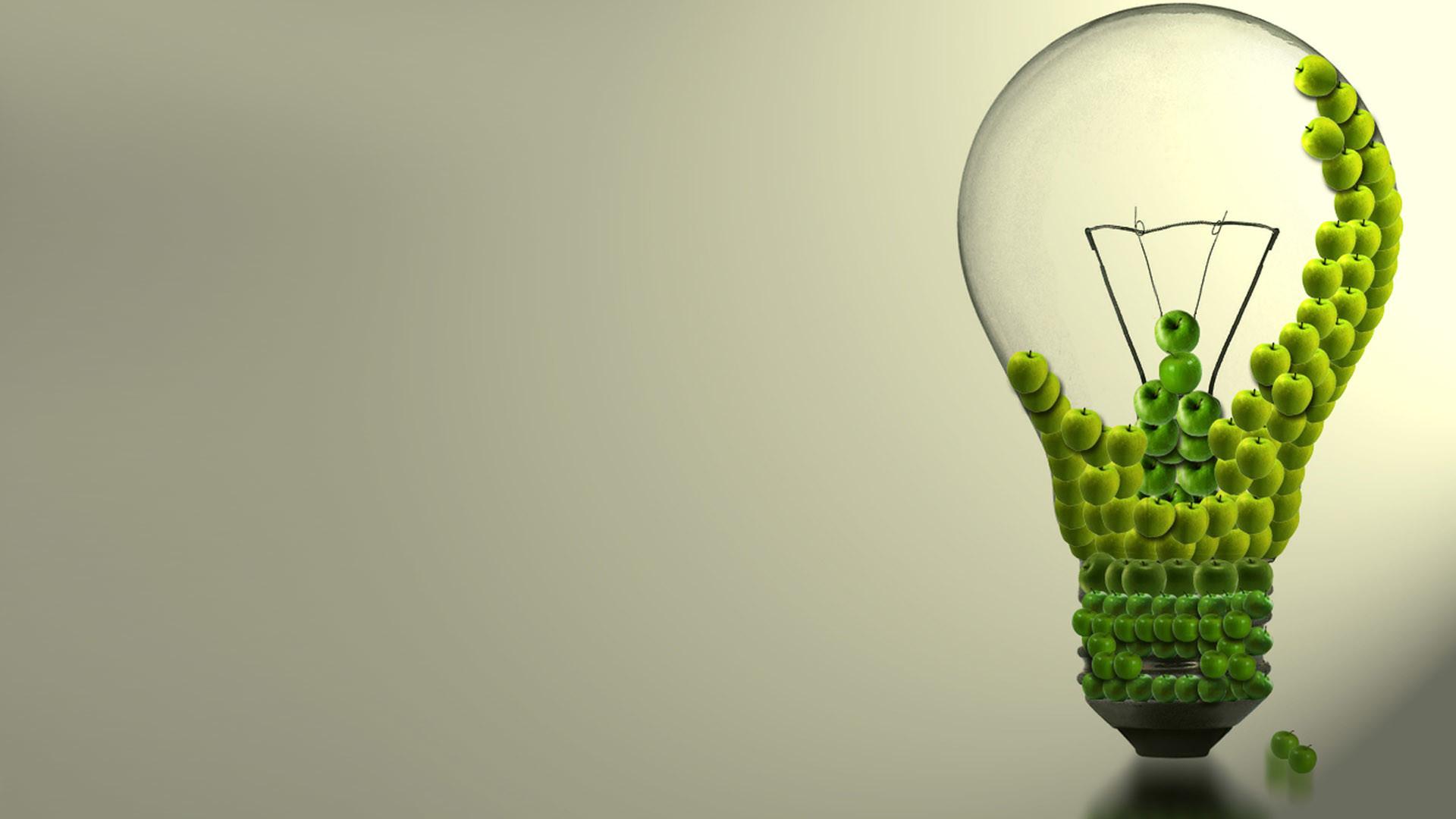 Light Bulb Apples Abstract Wallpaper
