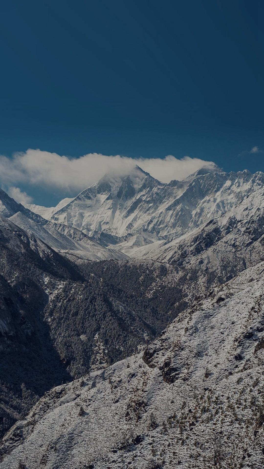 Winter Mountain Nature Snow Dark Alps iPhone 6 wallpaper
