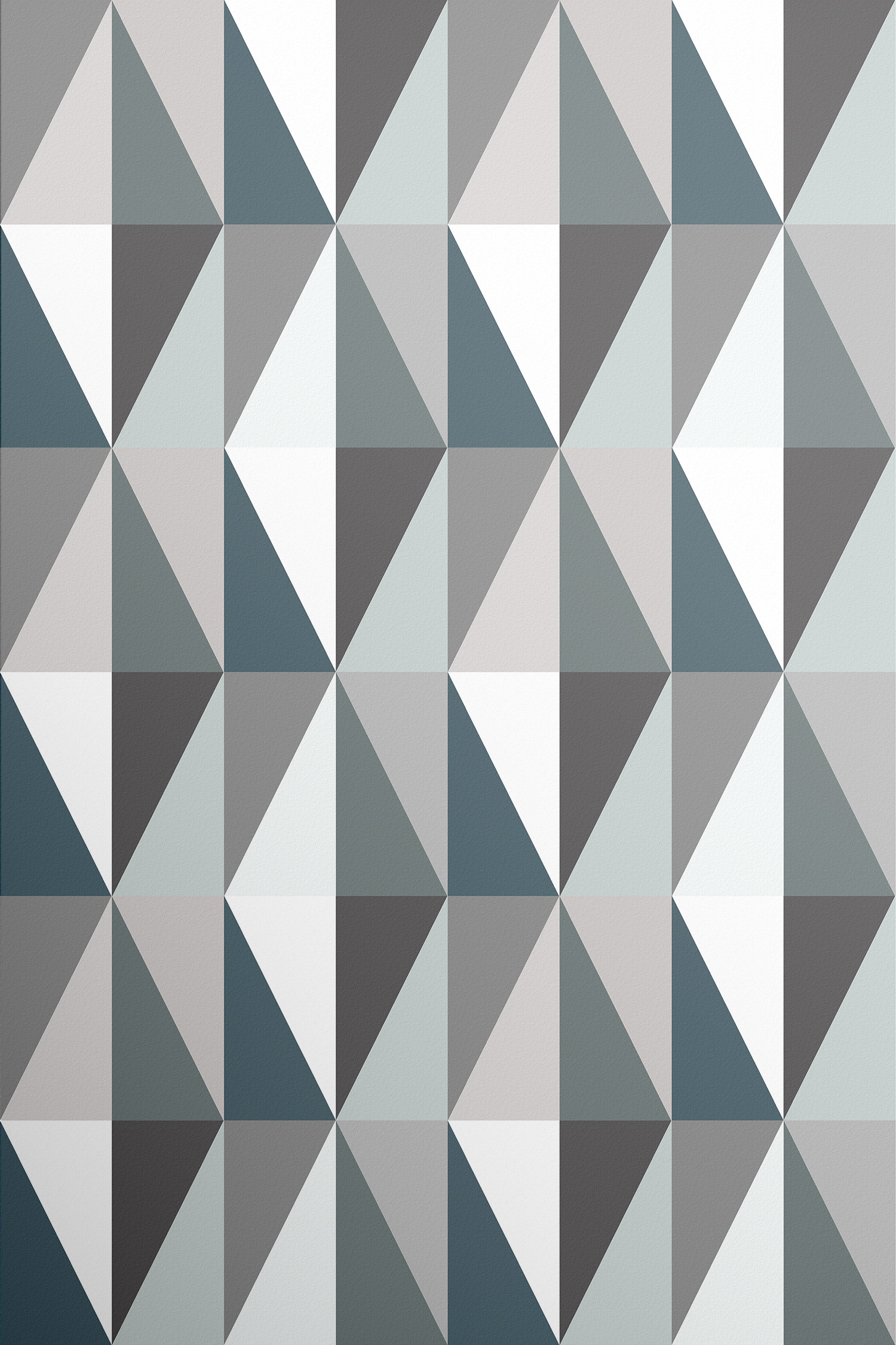 London Underground style tiles of triangles in rich emerald, blue, grey and  white make