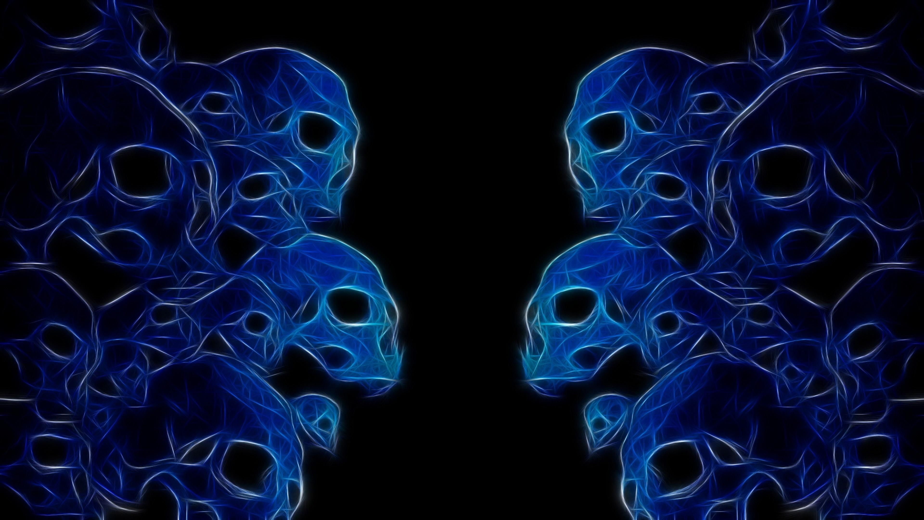 Wallpaper skulls, neon, color, white, dark