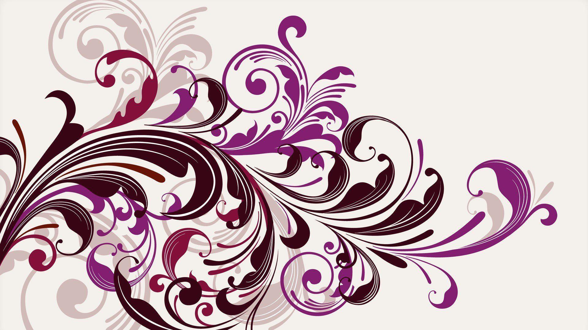 HD Purple Vectors Swirls Floral Graphics White Background Free Wallpaper