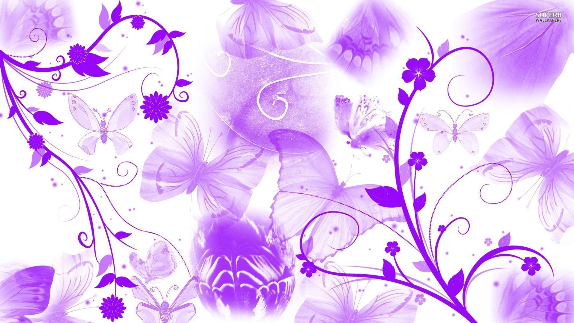 Purple butterflies and swirling flowers wallpaper