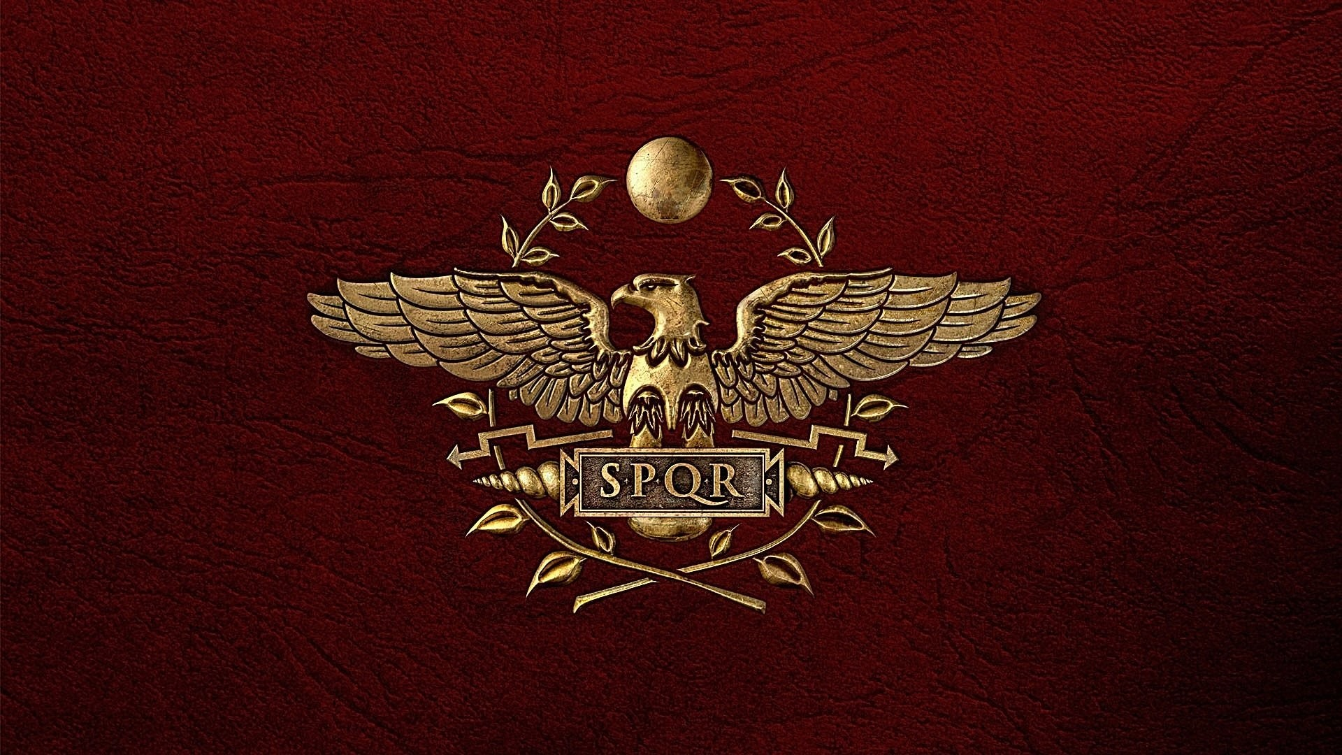 coat of arms symbol rome roman empire red background leather