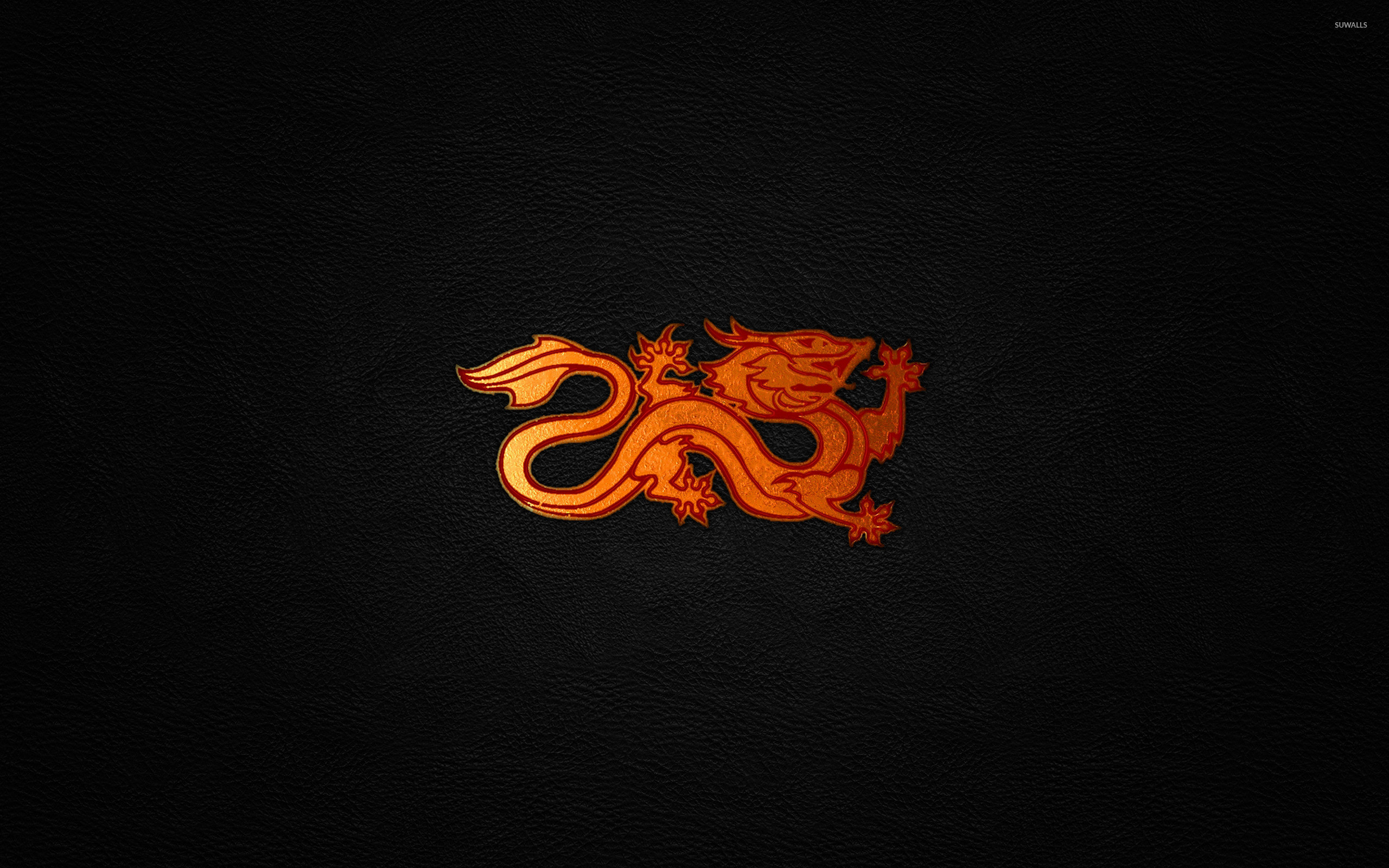 Red dragon on leather wallpaper jpg