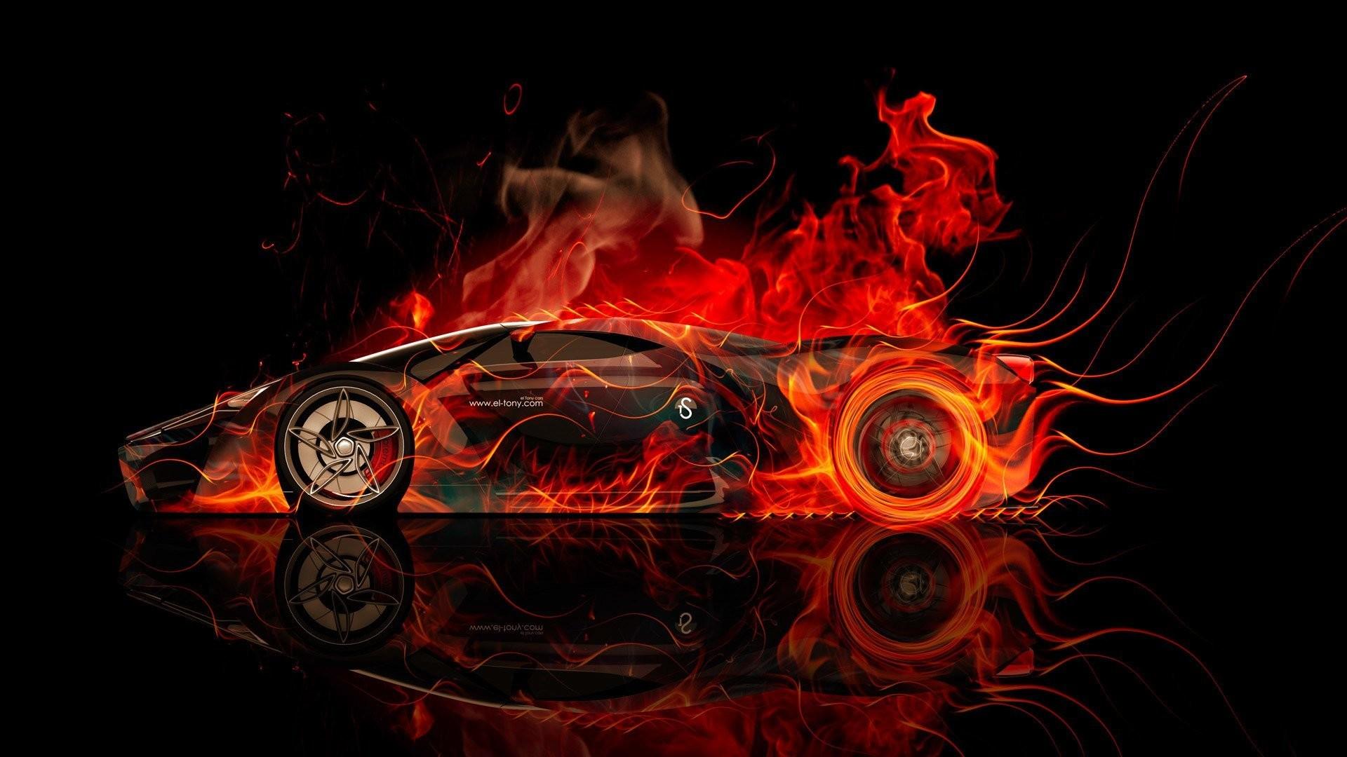 tony kokhan ferrari f80 side fire car concept abstract orange colors  aerography black hd wallpapers supercar