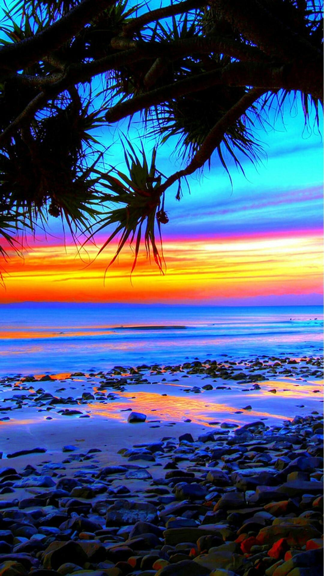 Blue orange purple sunset