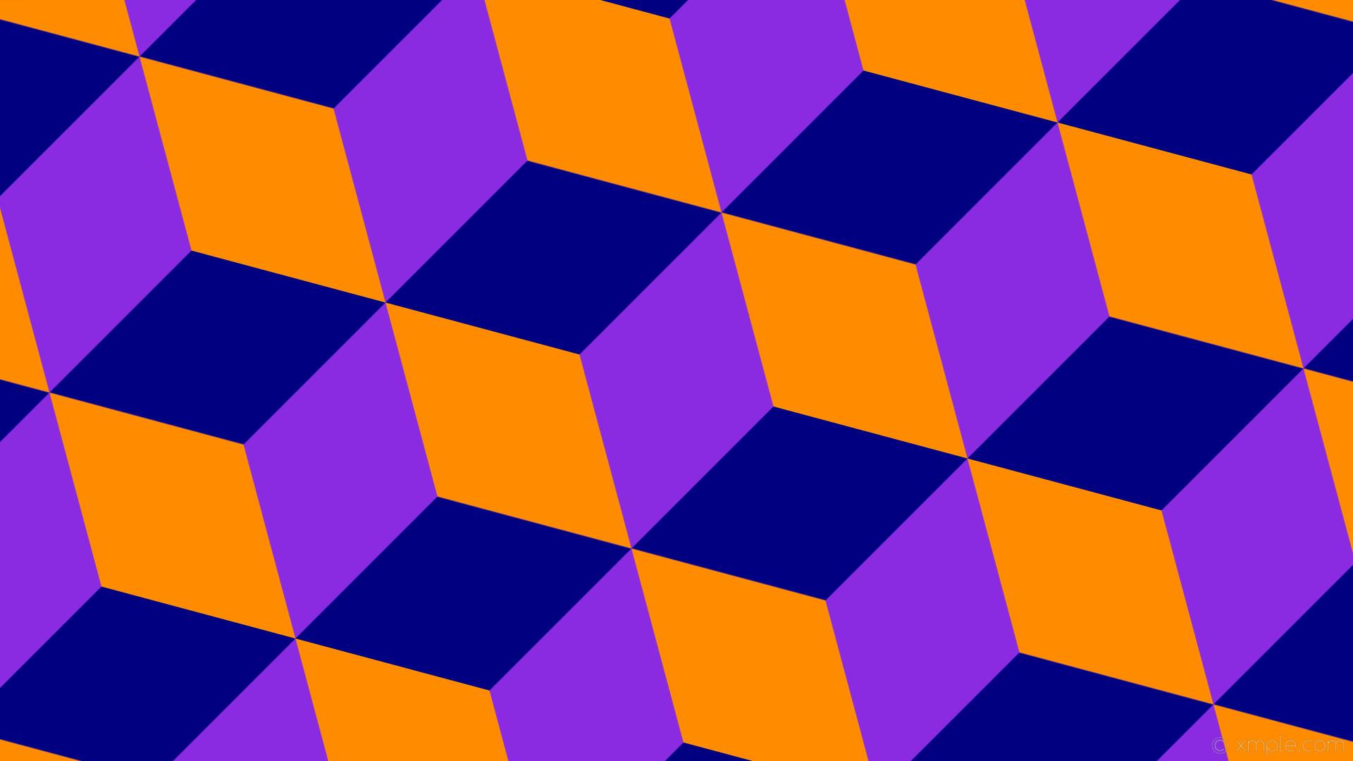 wallpaper purple 3d cubes orange blue blue violet navy dark orange #8a2be2  #000080 #