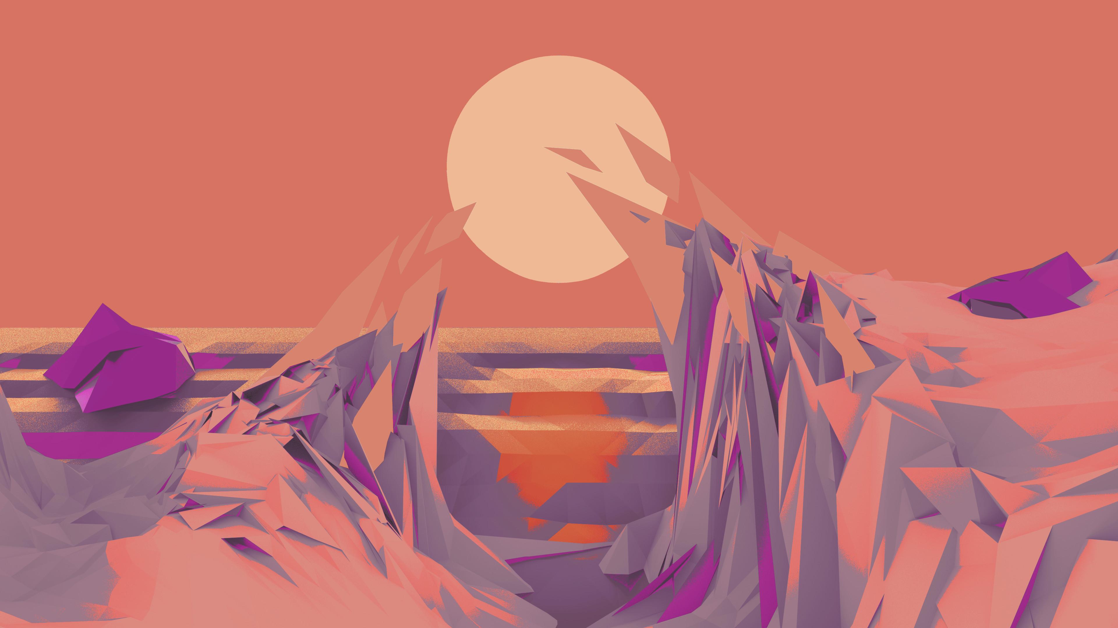 … Low Poly Wallpaper (Orange/Purple) by Bluhurr