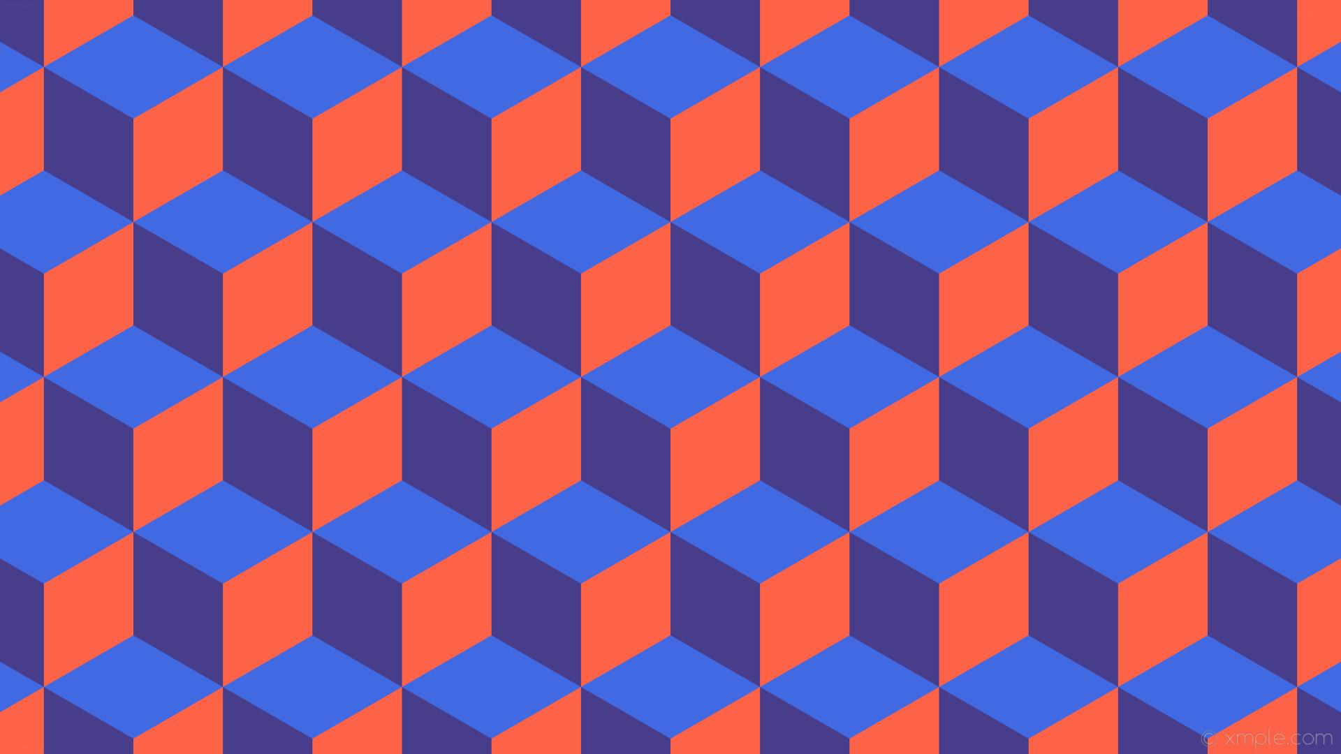 wallpaper 3d cubes blue orange purple royal blue dark slate blue tomato  #4169e1 #483d8b