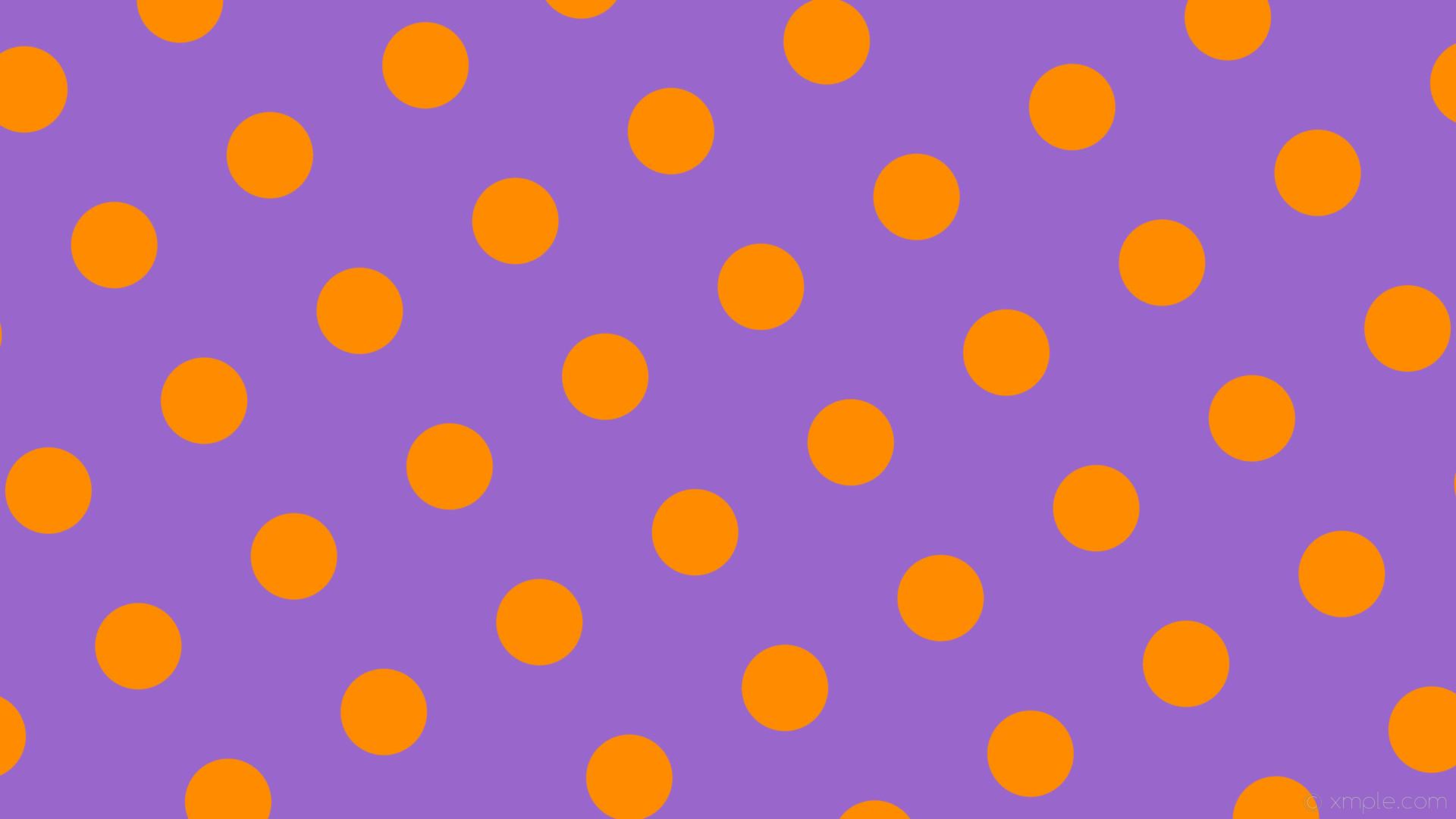 wallpaper purple orange polka dots spots amethyst dark orange #9966cc  #ff8c00 210° 114px