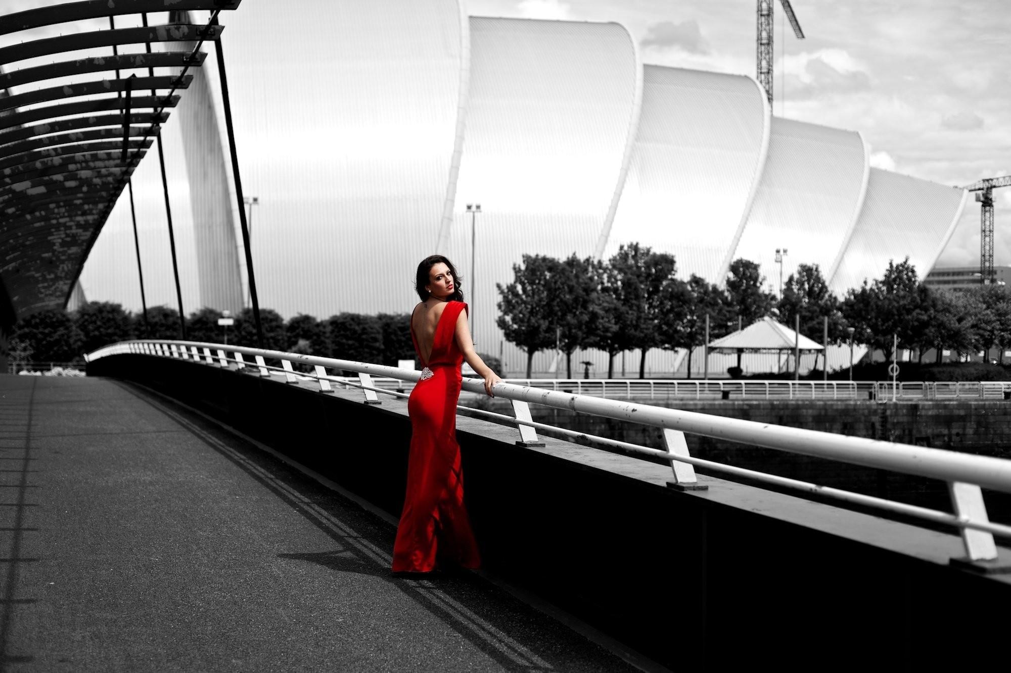 Girl brunette dress red black and white posture street wallpaper |  | 474988 | WallpaperUP