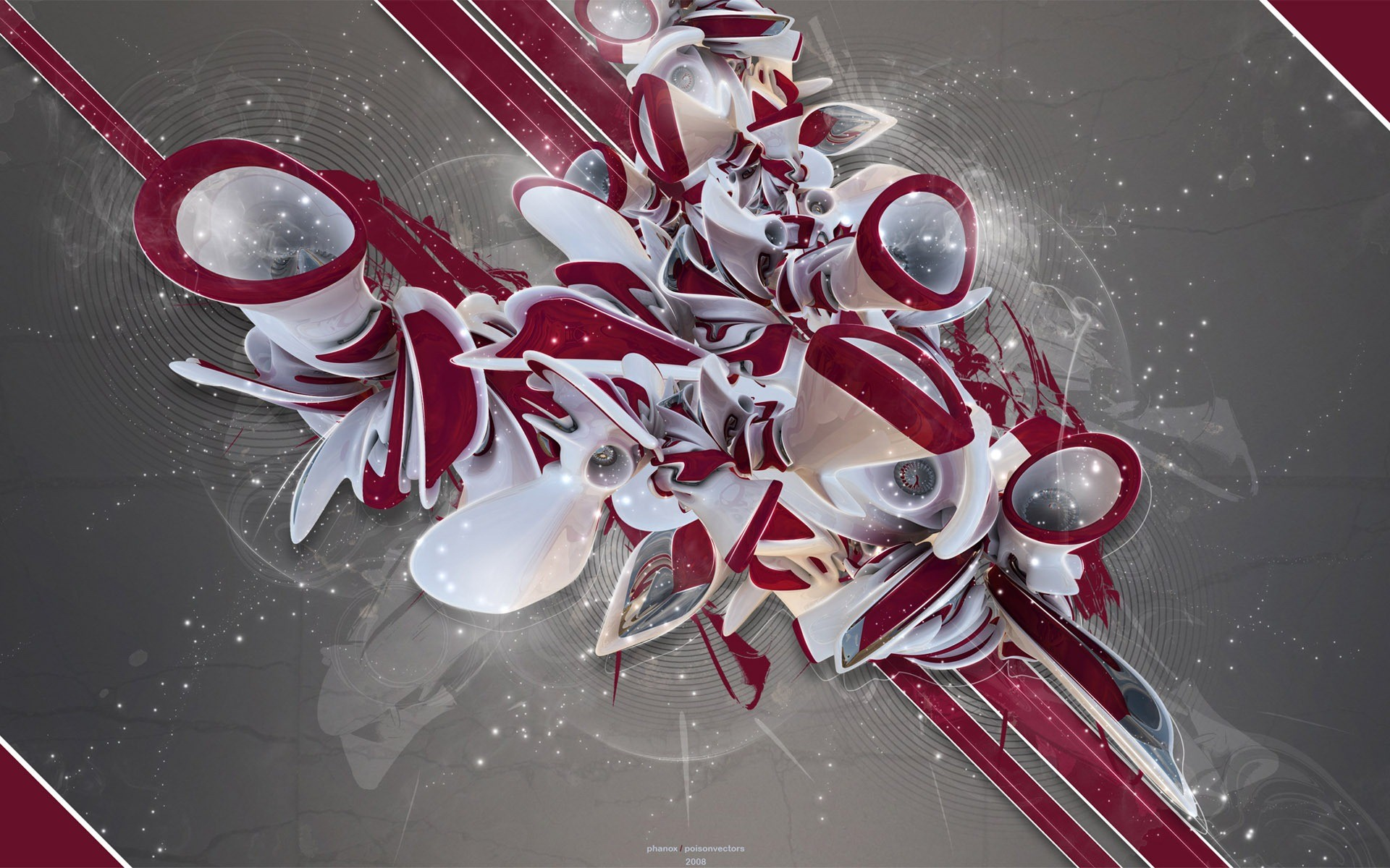 Abstract Art Black And White Red