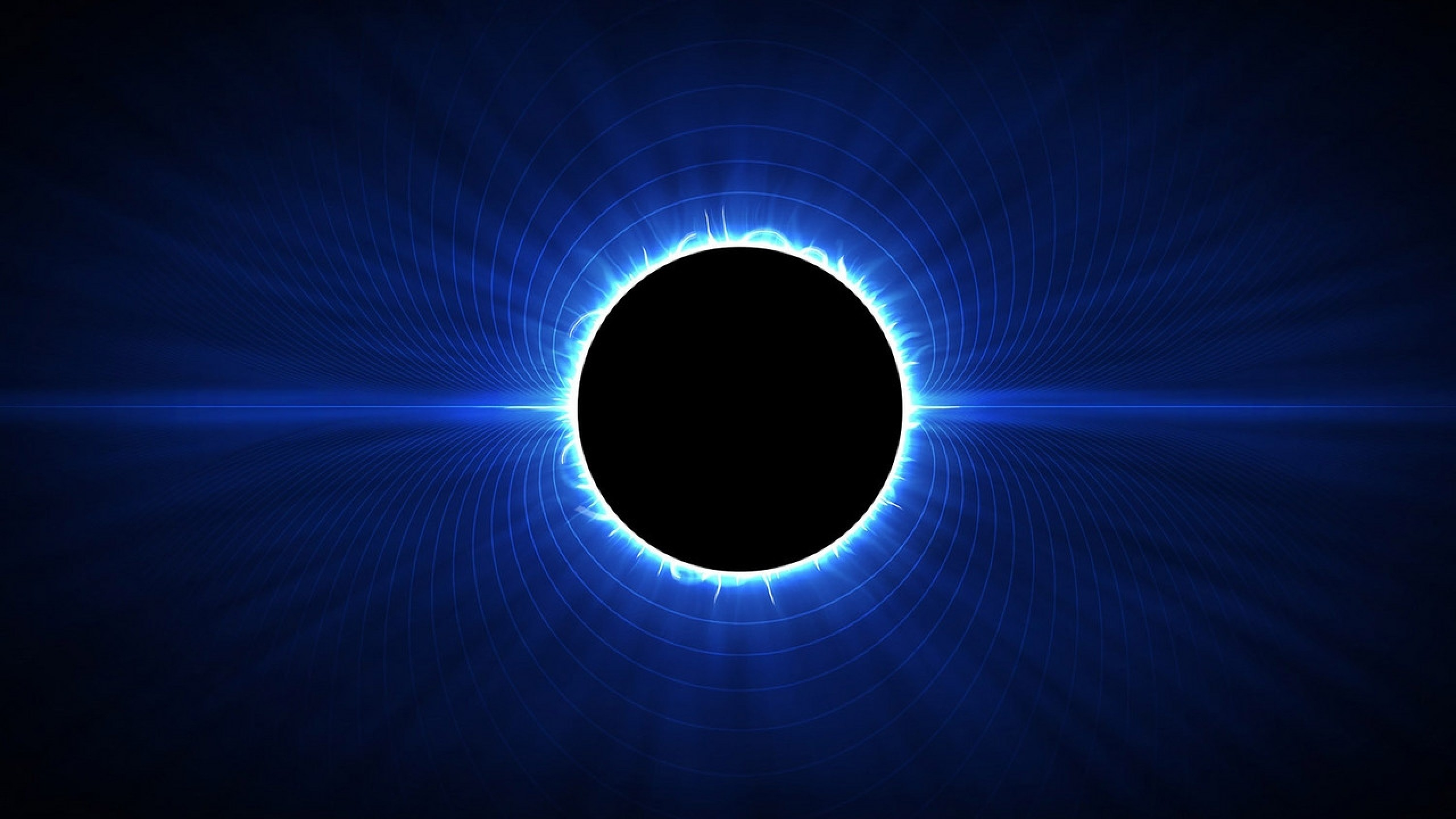 Wallpaper abstraction, eclipse, space, light, black, blue, white