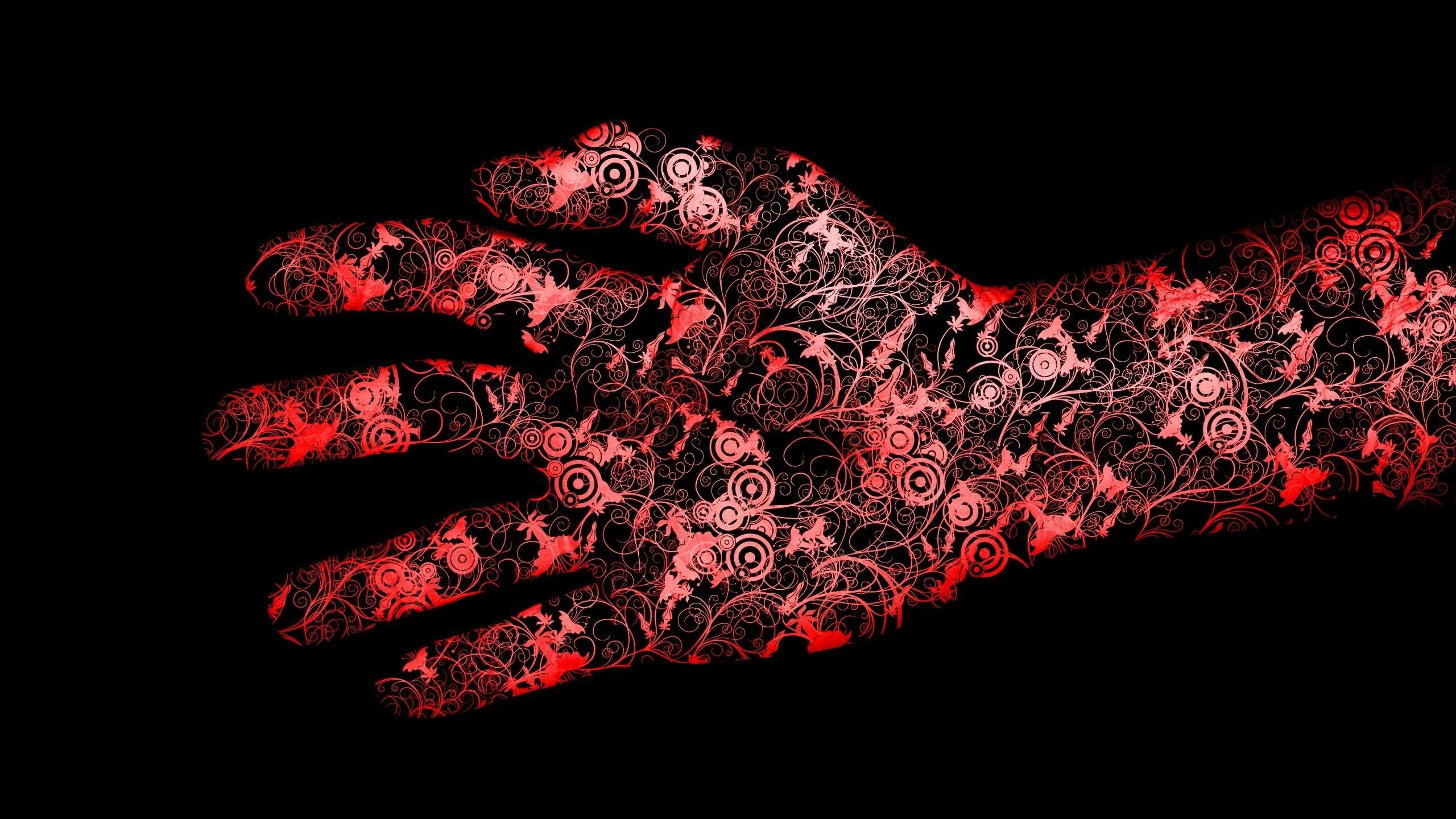 Wallpaper red, black, hand, flowers
