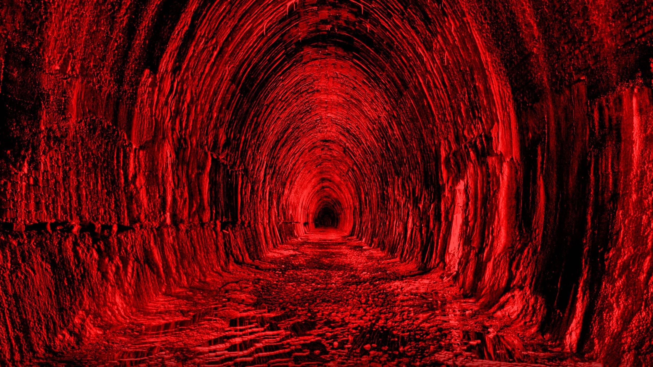 Wallpaper tunnel, red, black, light
