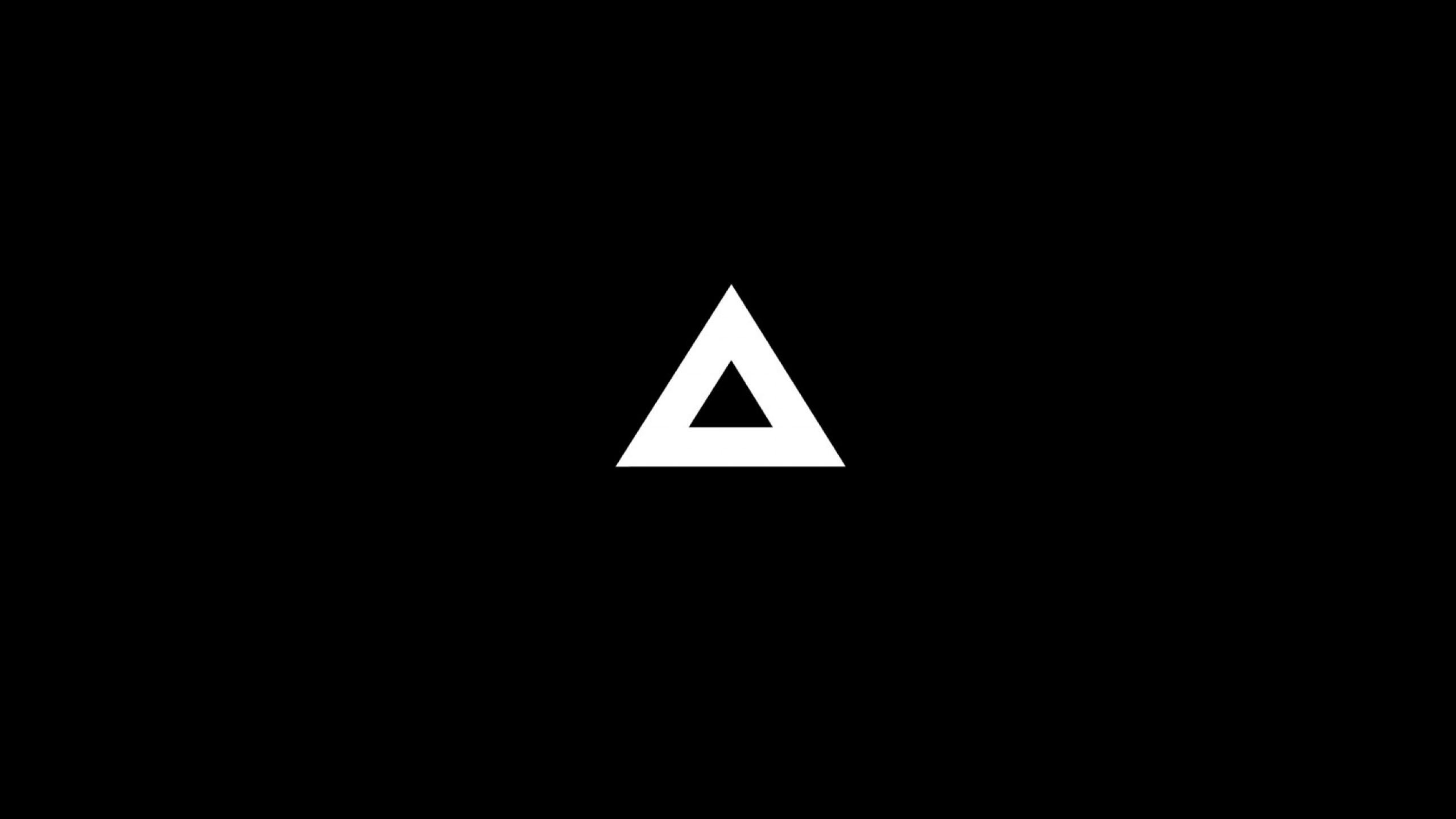 Wallpaper triangle, minimalism, black, white