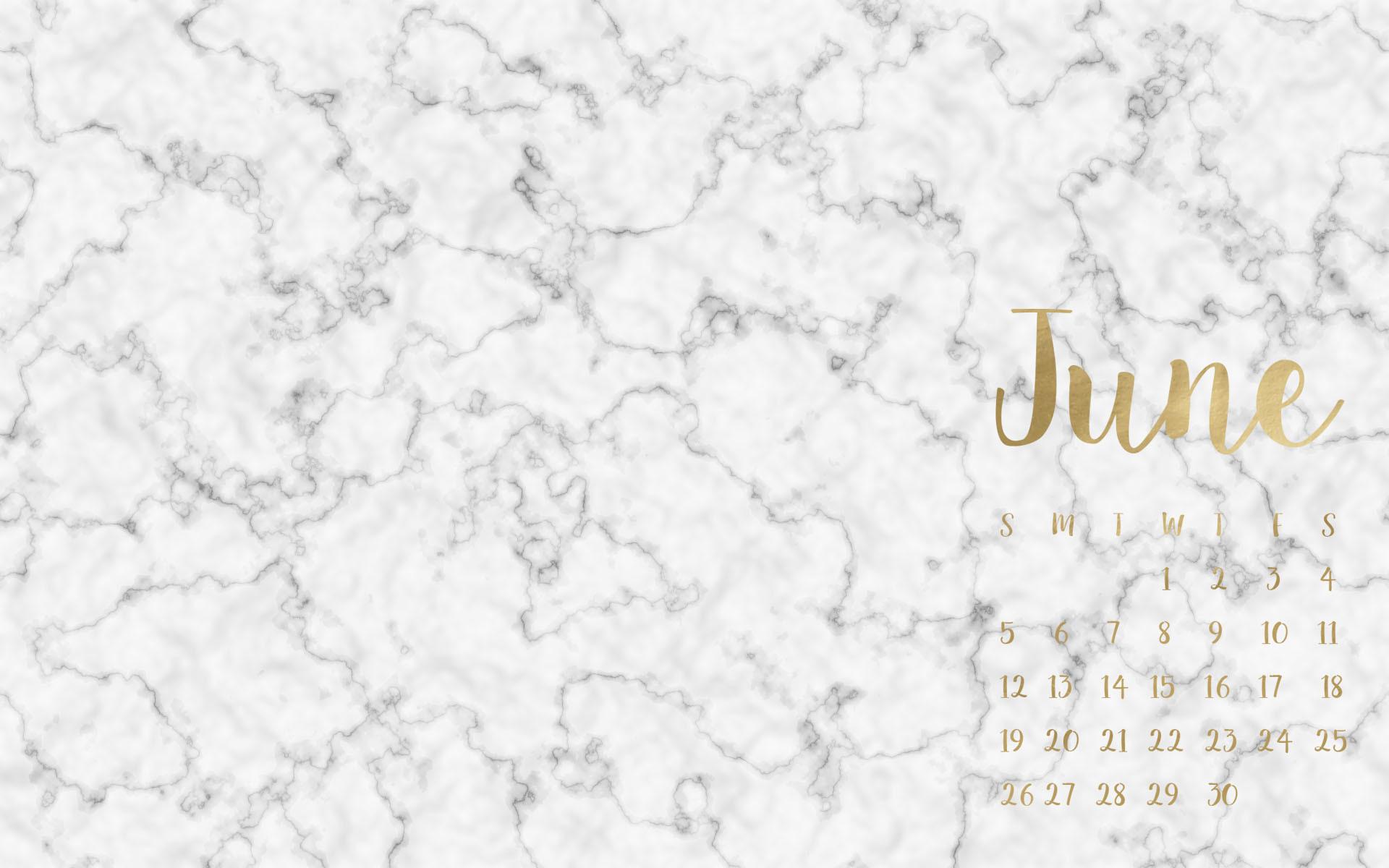 June Marble & Gold Calendar